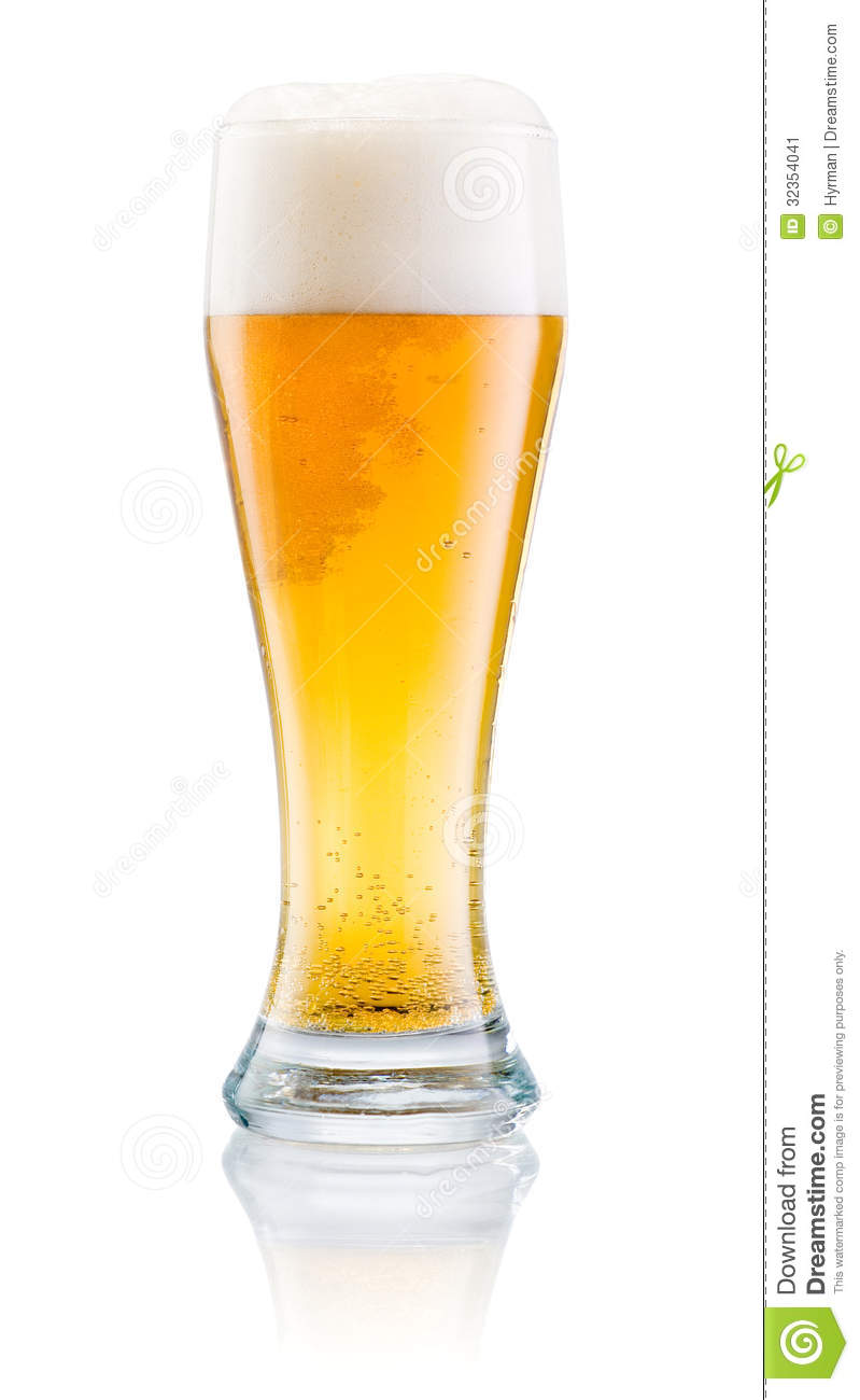 Glass Of Fresh Beer With Cap Of Foam Isolated On White