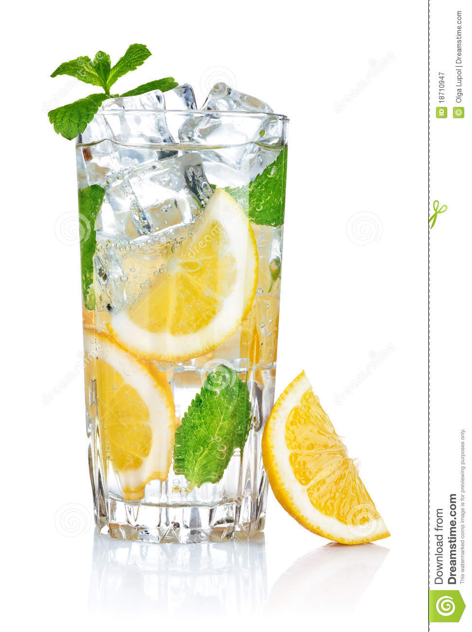 Glass Of Fresh Cool Water With Lemon Royalty Free Stock Photography ...