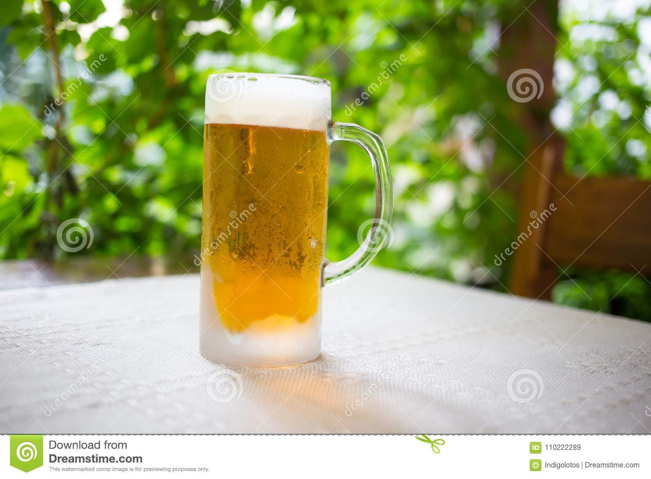 Glass with fresh lager beer.