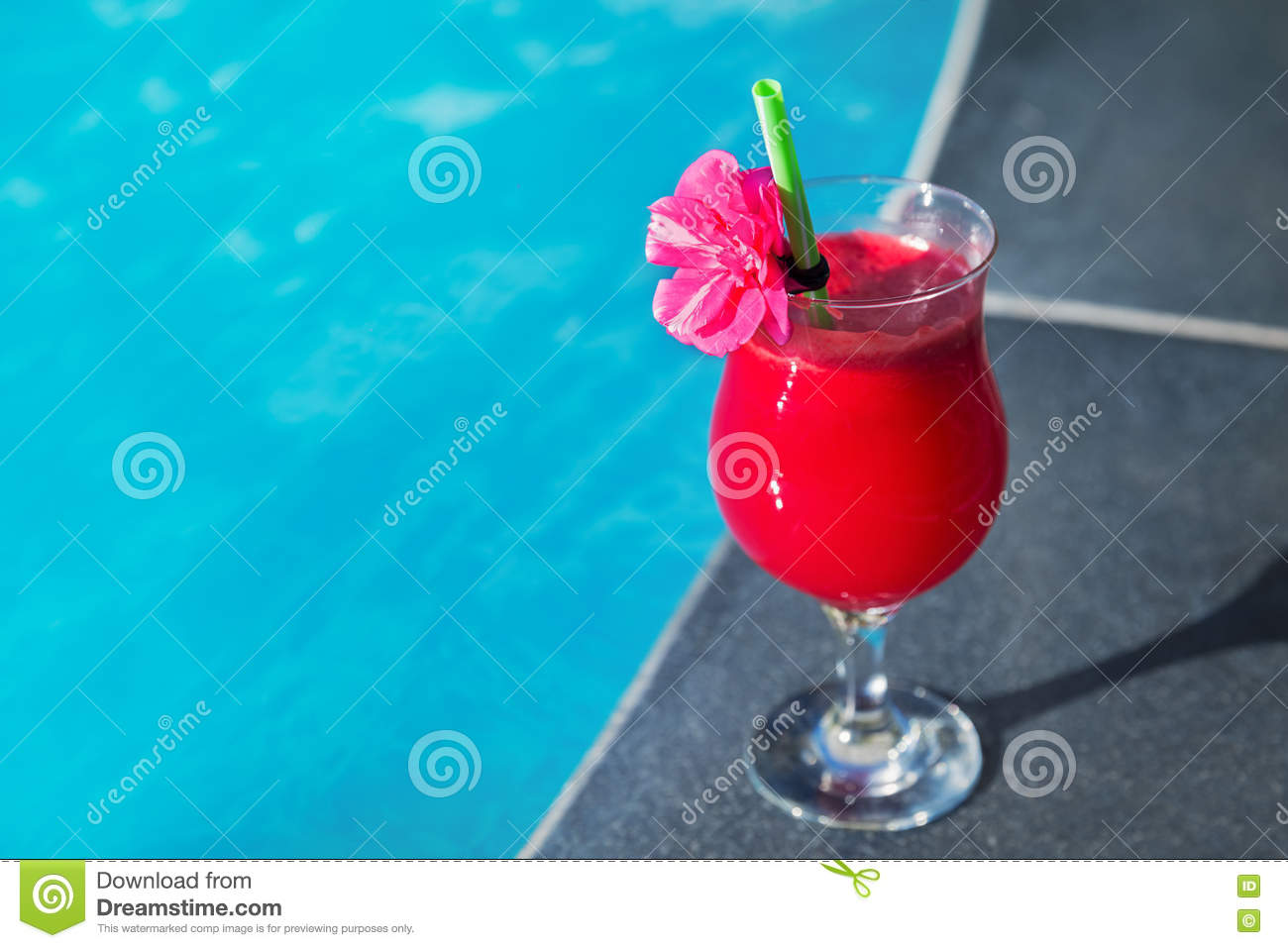 Glass Of Fresh Watermelon Smoothie Juice Drink Swimming Pool Stock Photo Image 75767873