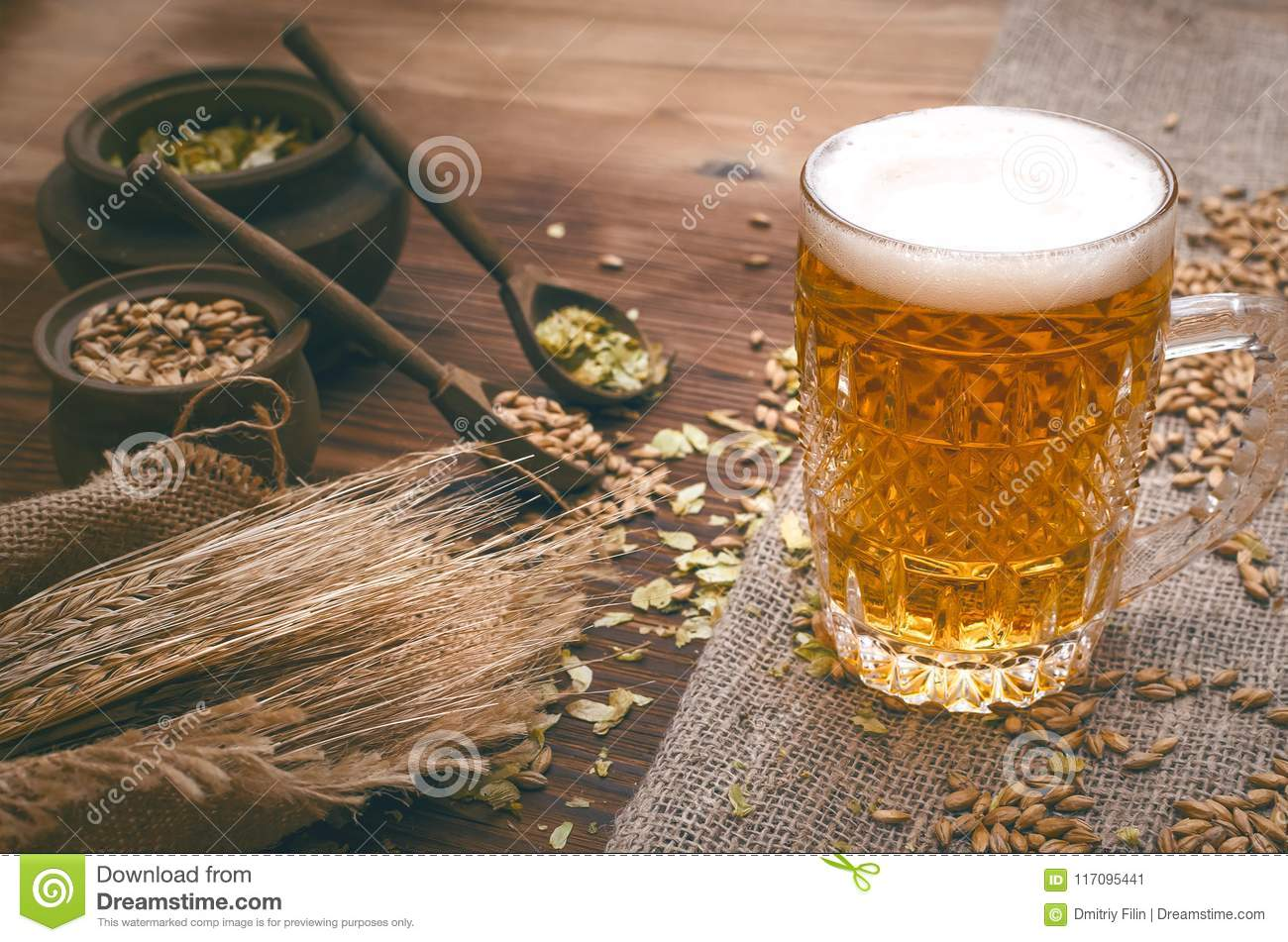 Glass of frothy beer, malt and hop.