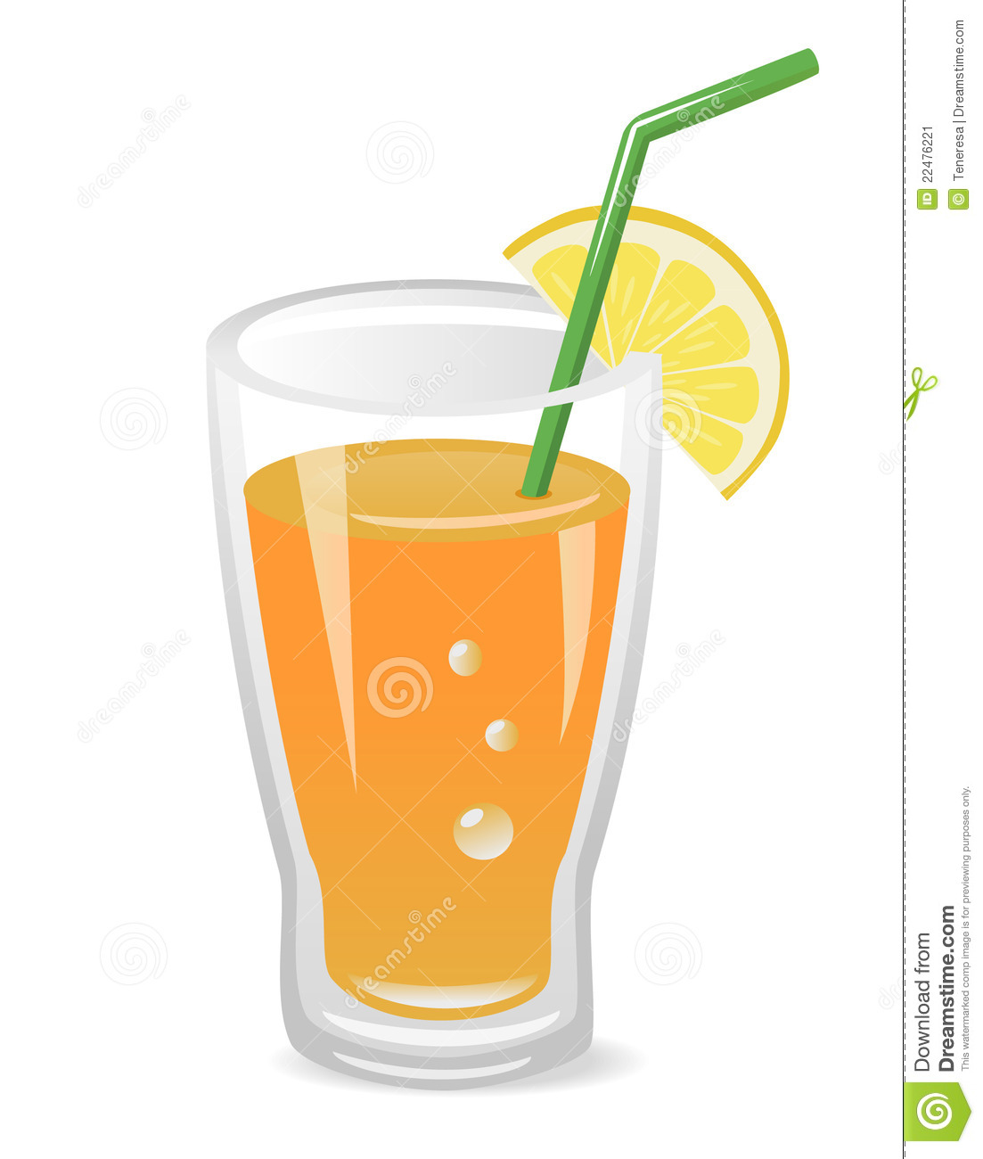 Vector illustration of glass of fruit juice with lemon slice and ...