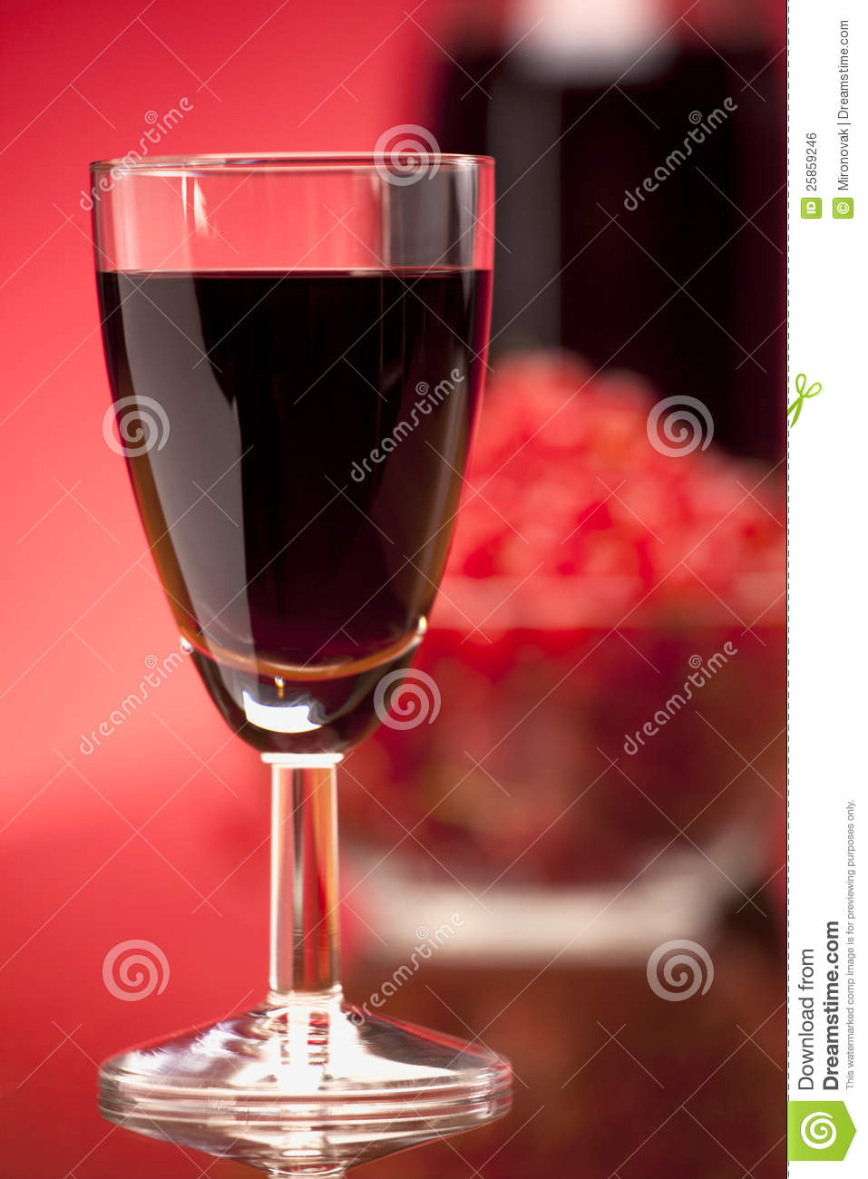 Glass of fruit red wine