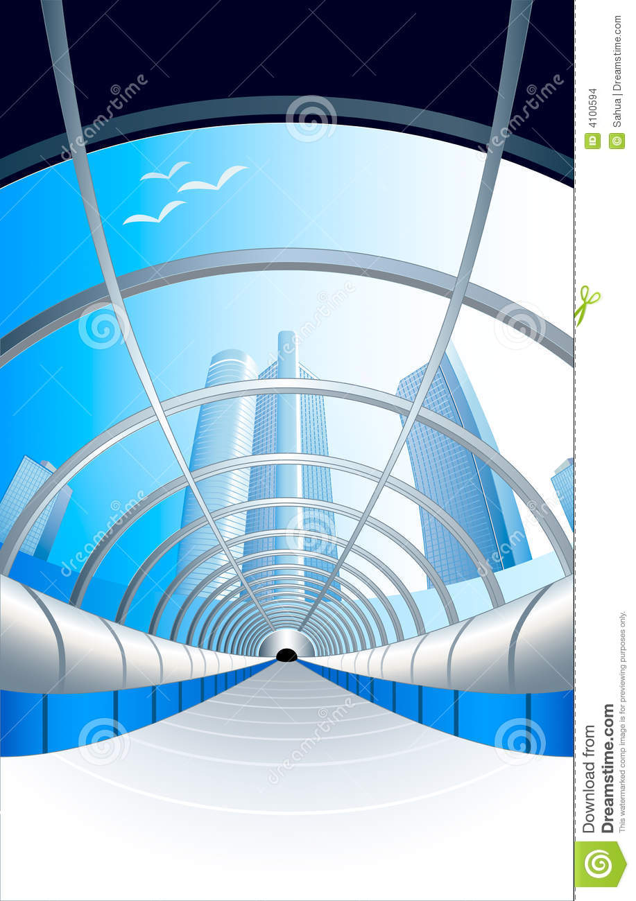 Glass futuristic tunnel