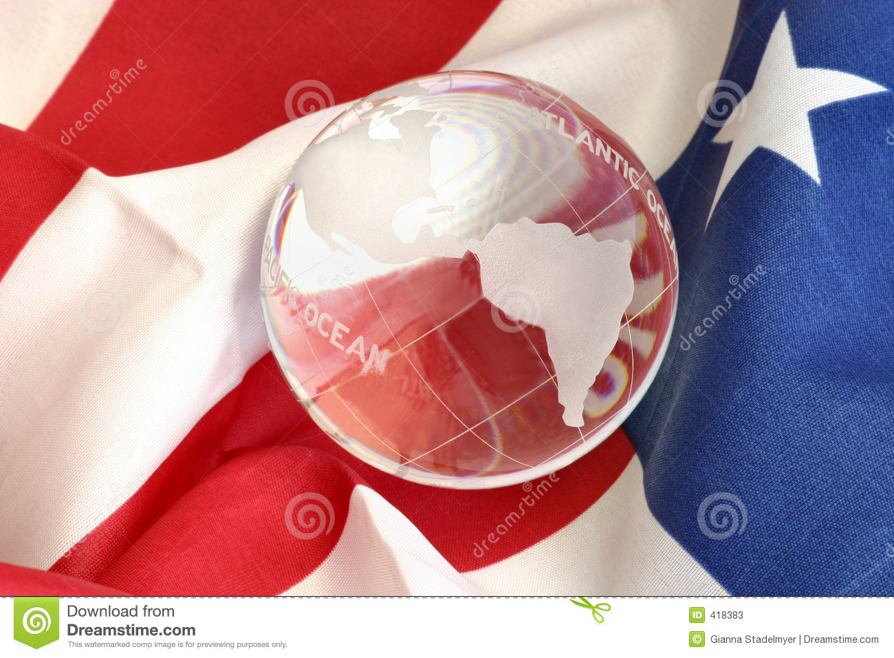 Glass globe on American flag