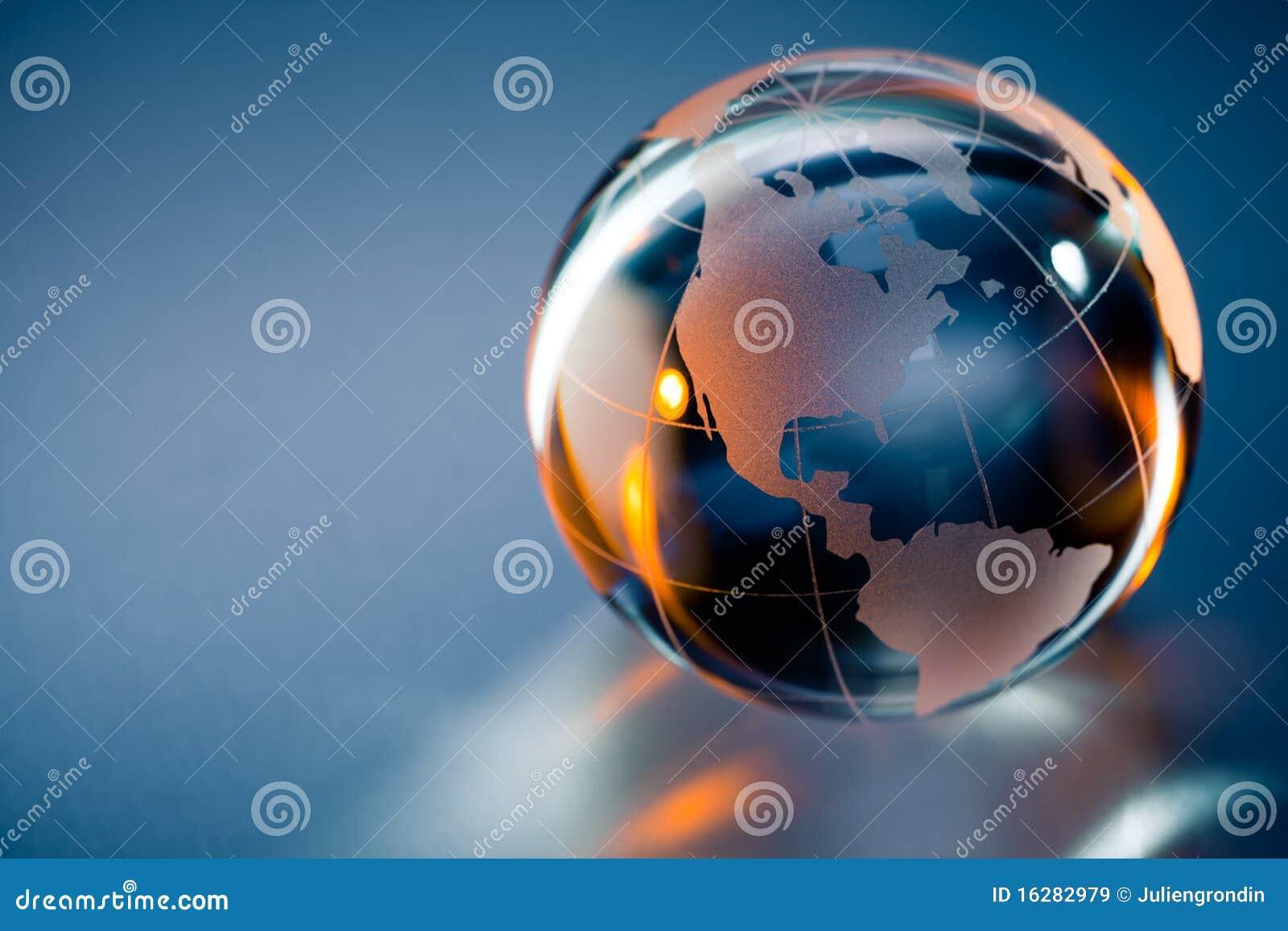 Glass globe of Planet Earth