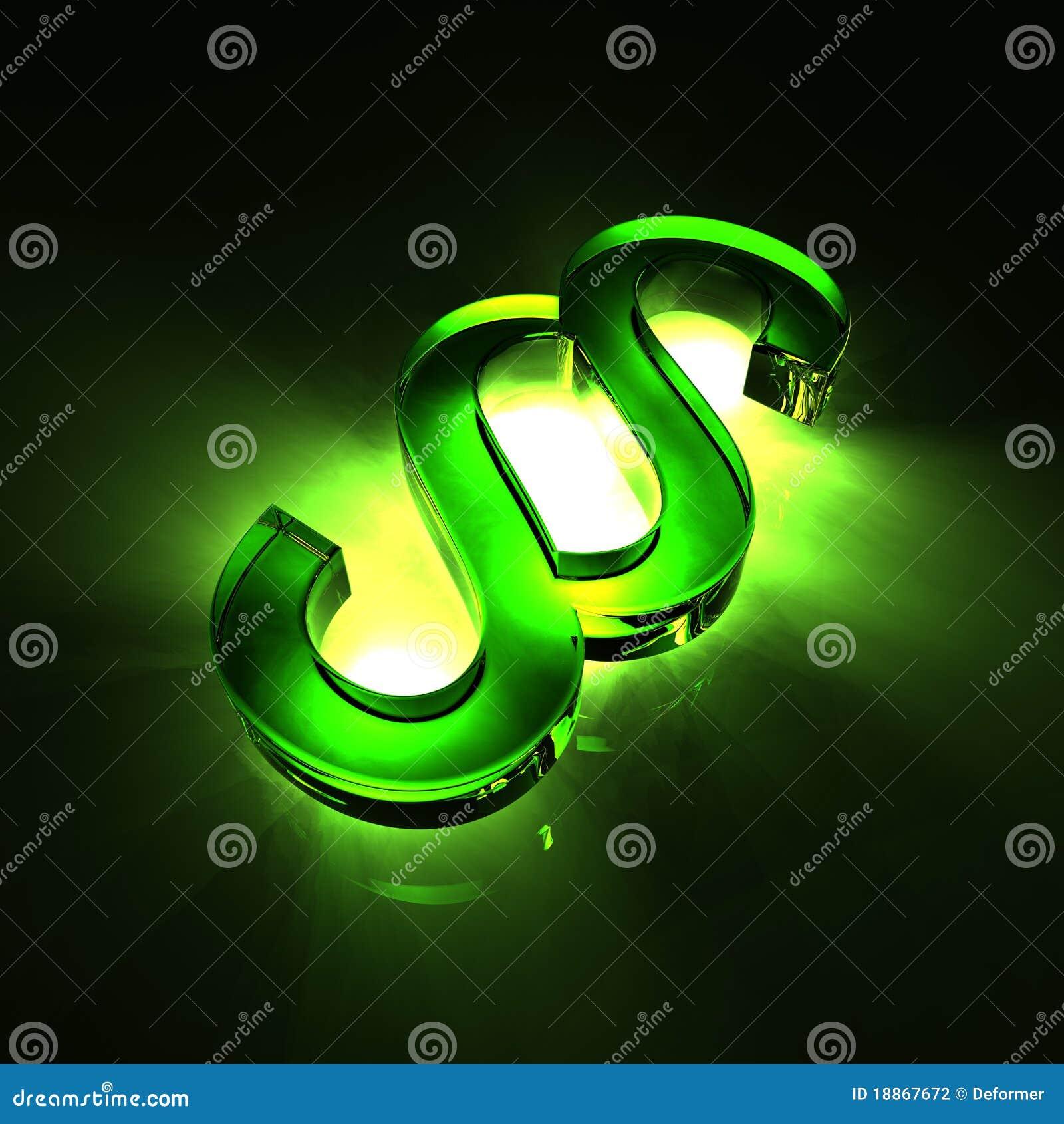 Glass grönt avsnittsymbol