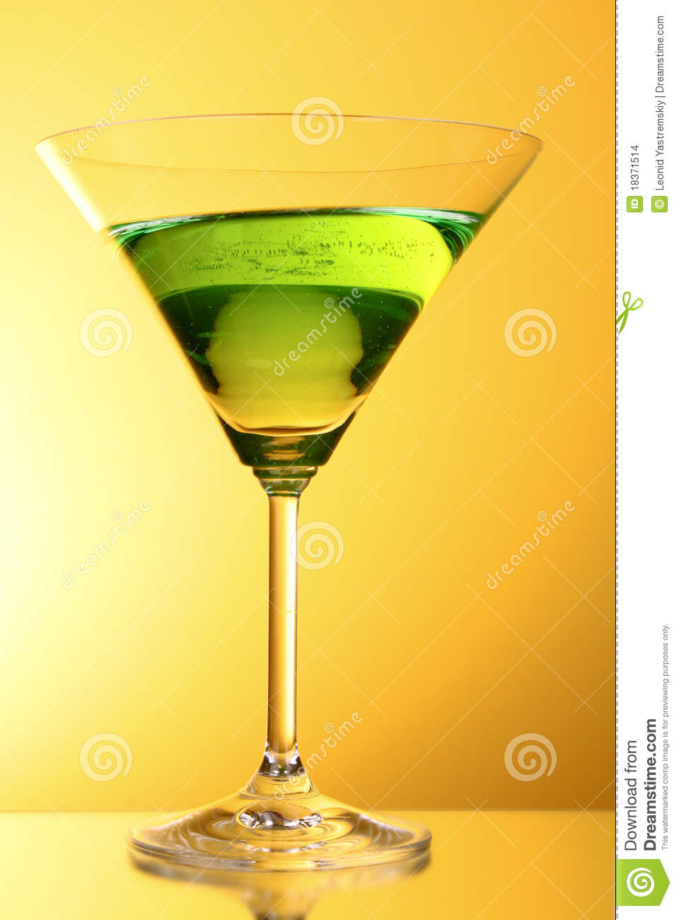 Glass With A Green Alcoholic Beverage Stock Photo - Image ...