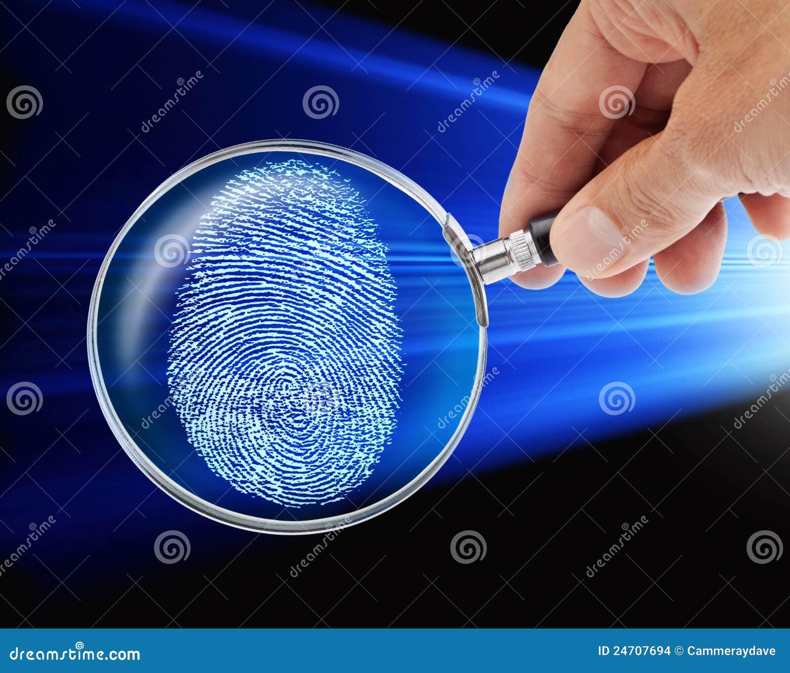Glass hand för fingeravtryck som förstorar