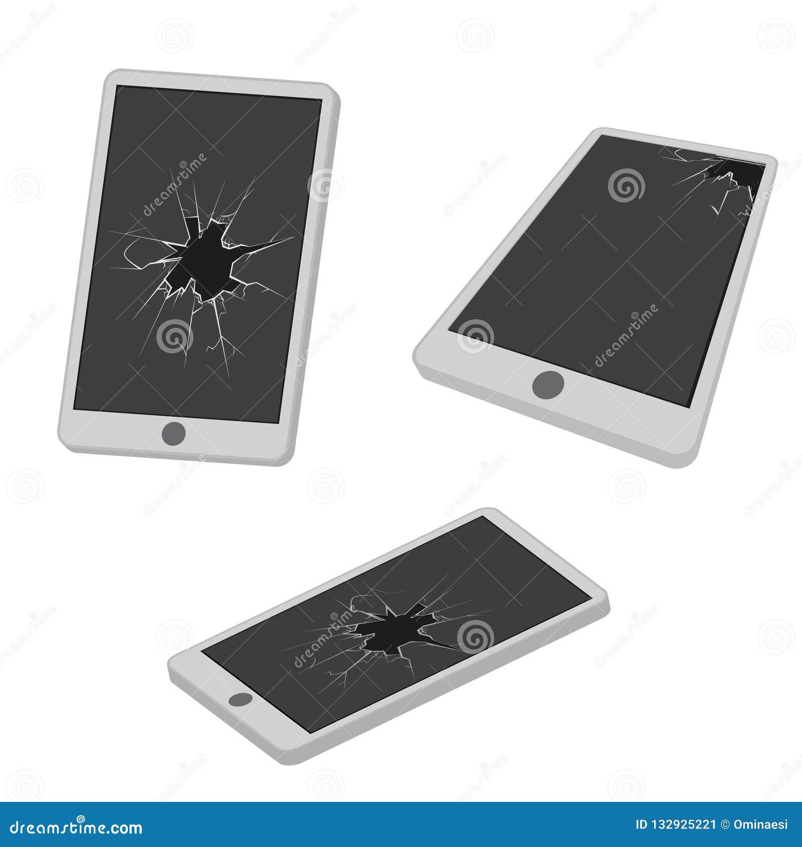 Glass hole cracks broken mobile phone electronic garbage realistic isometric design icon vector illustration