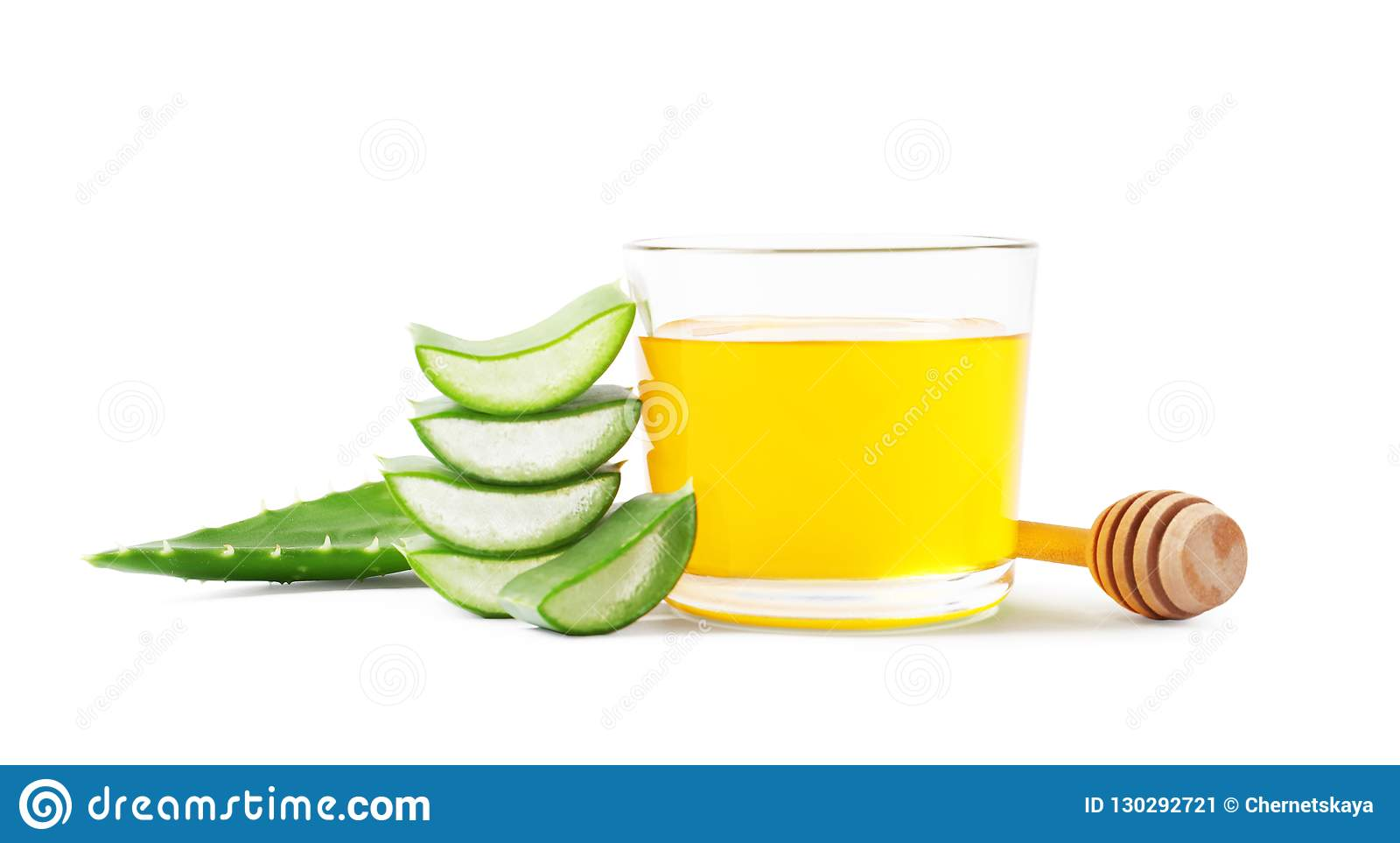 Glass of honey and aloe vera