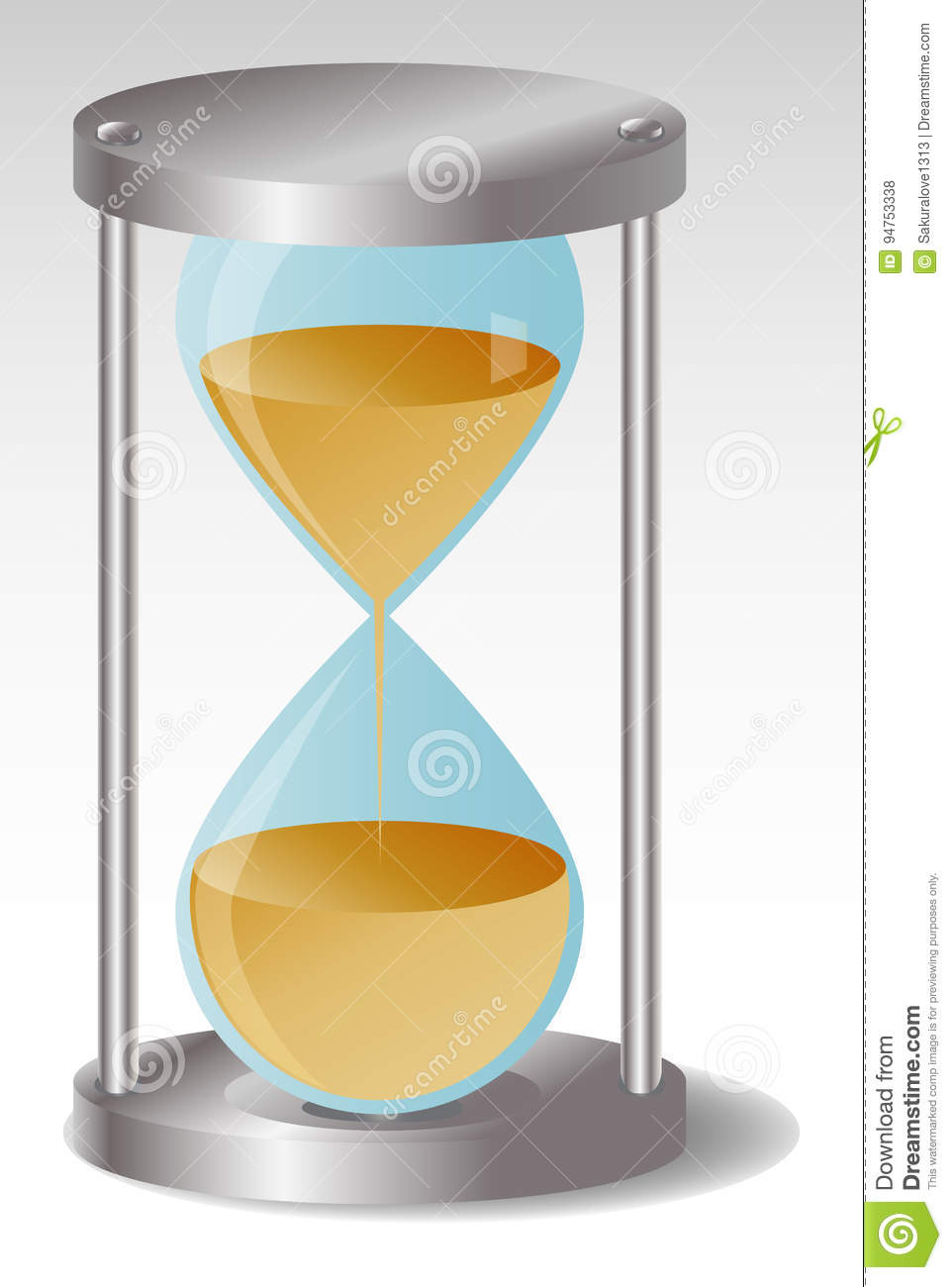 Glass Hourglass with metal hats, leaking sand