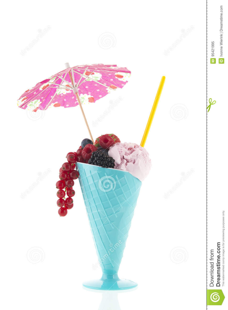 Glass with ice cream and fruit of the forest