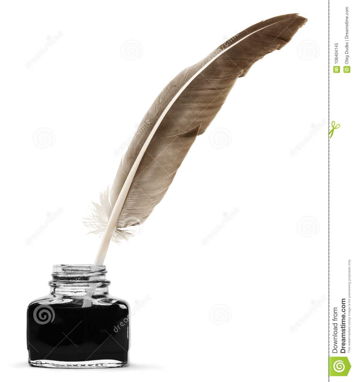 Feather Quill Pen And Glass Inkwell Isolated On A Stock ...Quill And Inkwell Image
