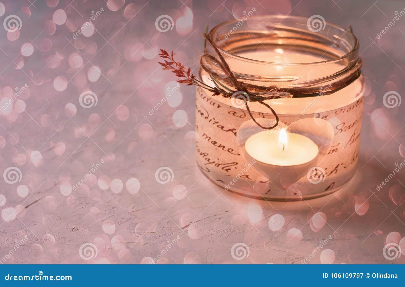 Glass Jar Candle Holder Decoupage Cut Out Heart Shape