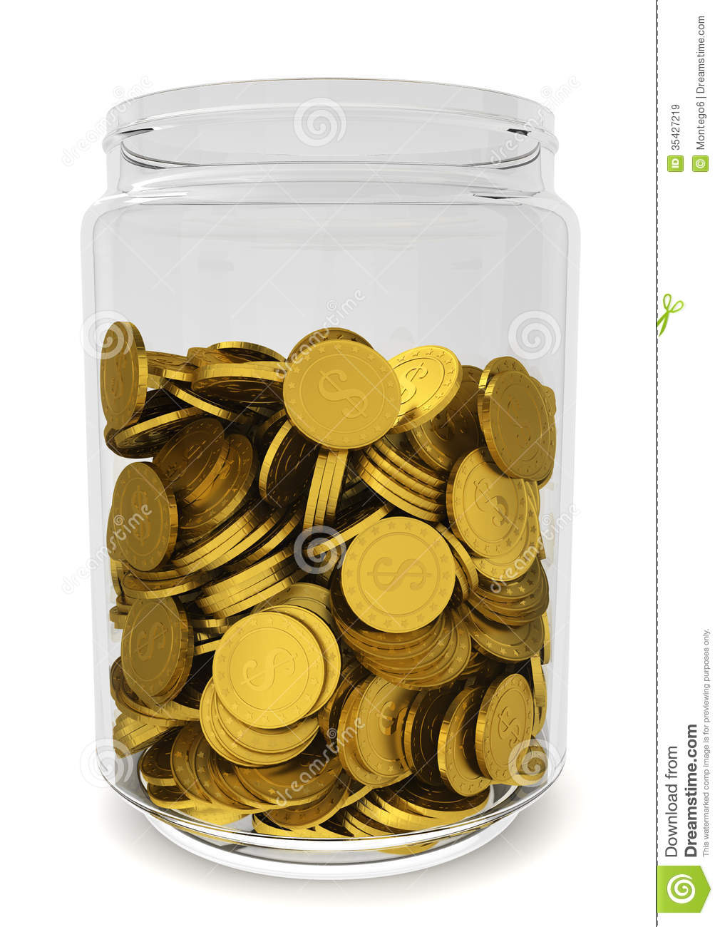 glass jar with golden coins savings concept stock