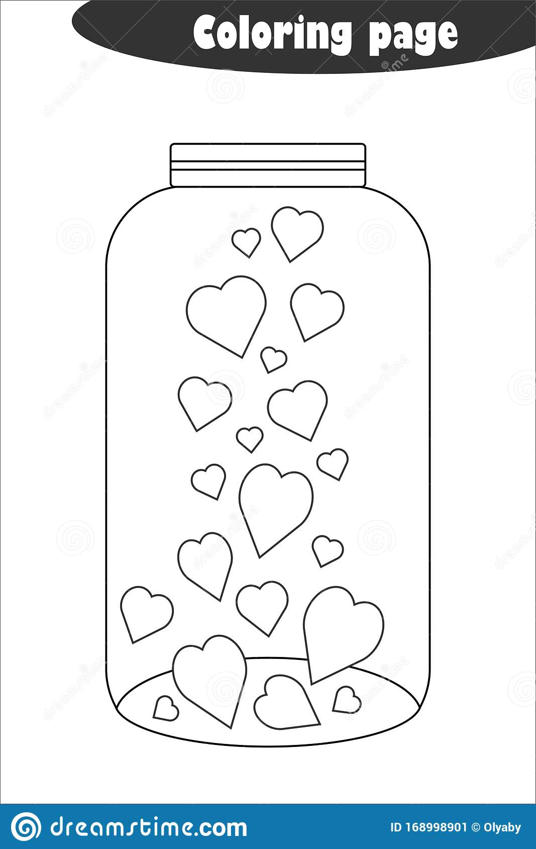 Glass Jar With Hearts In Cartoon Style, Coloring Page ...