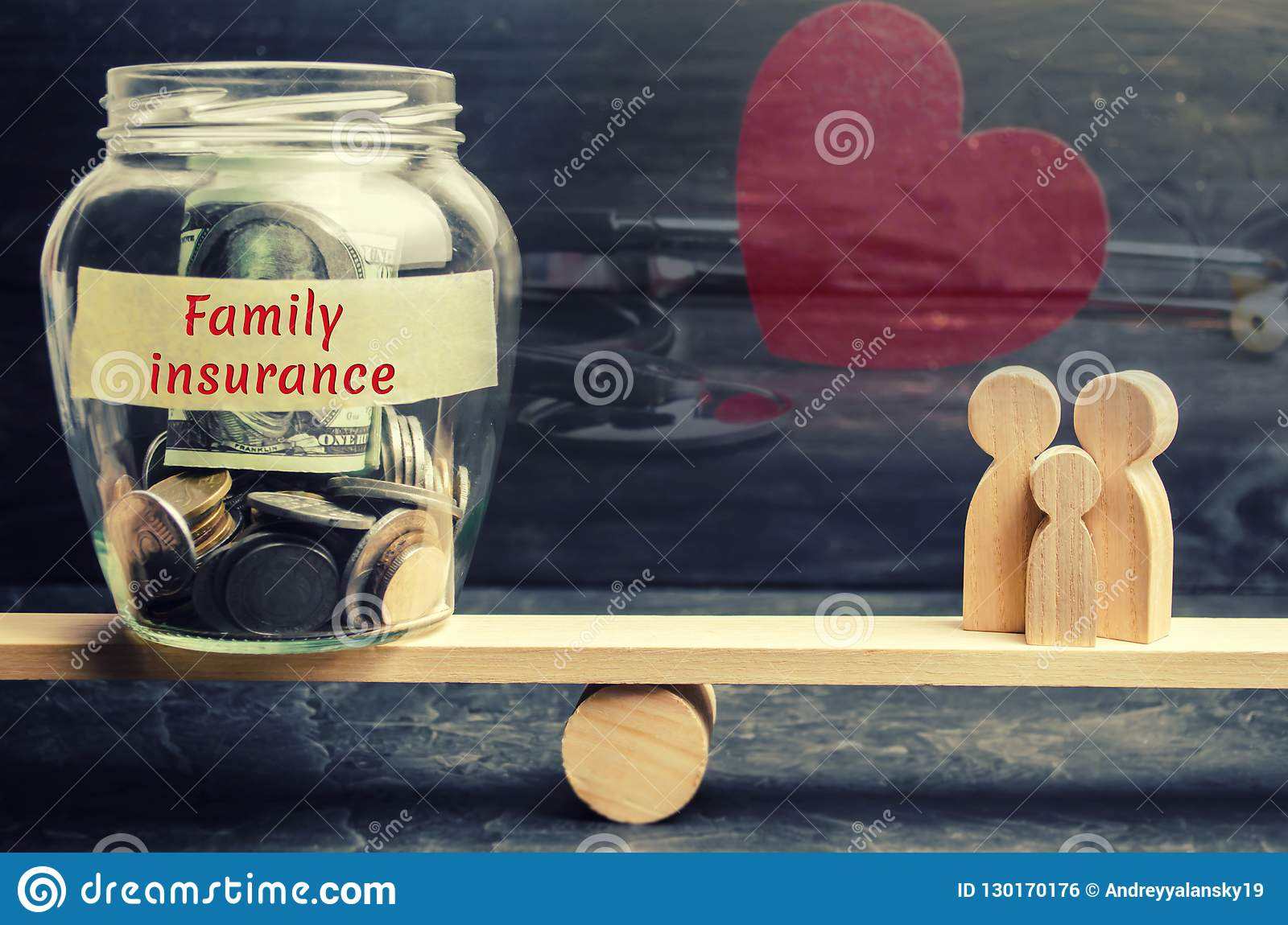 Glass jar with money and the words`Family Insurance` and the family on the scales. The concept of medical insurance of life, healt