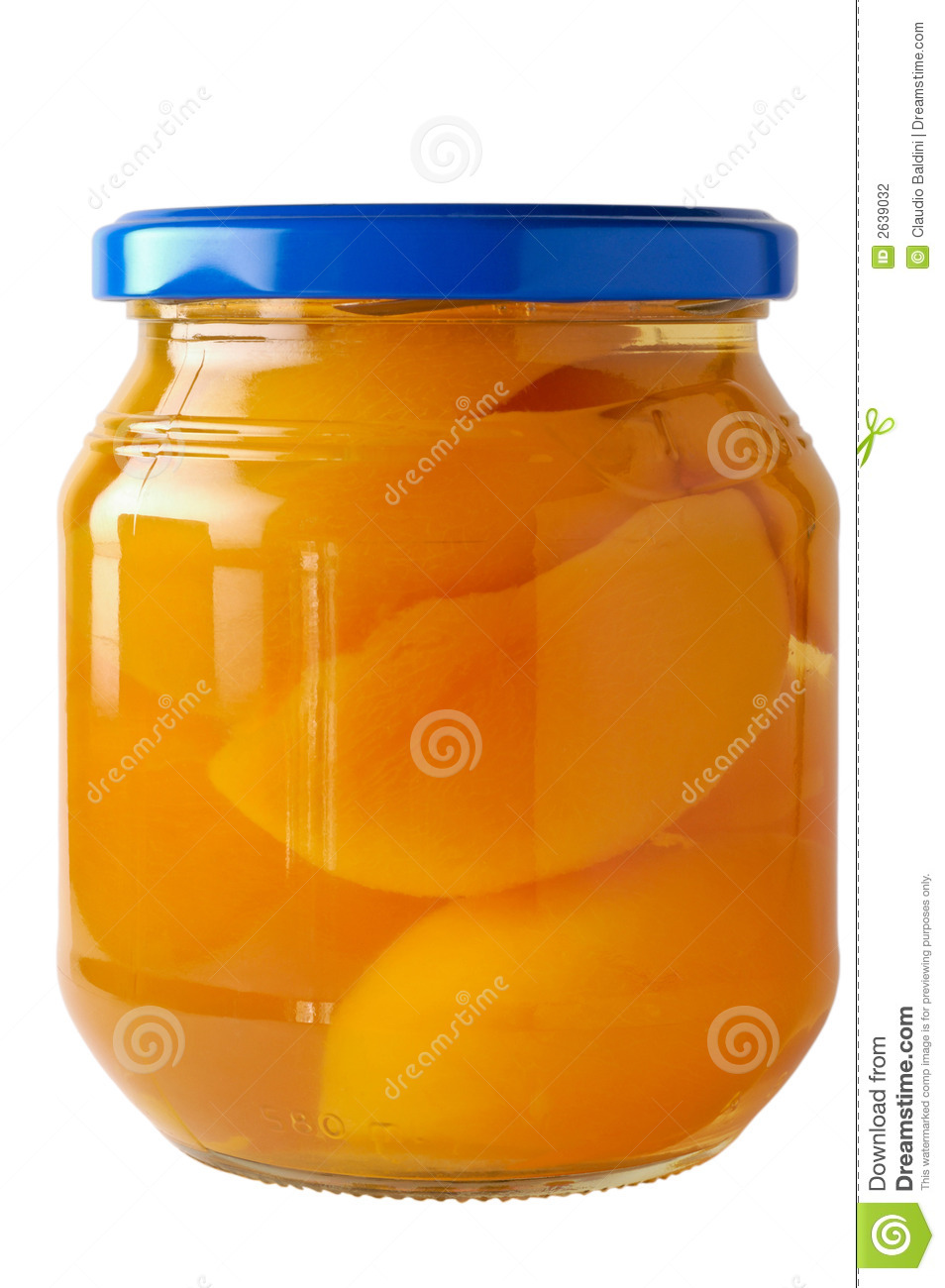 Glass Jar Of Preserved Peaches Stock Photo