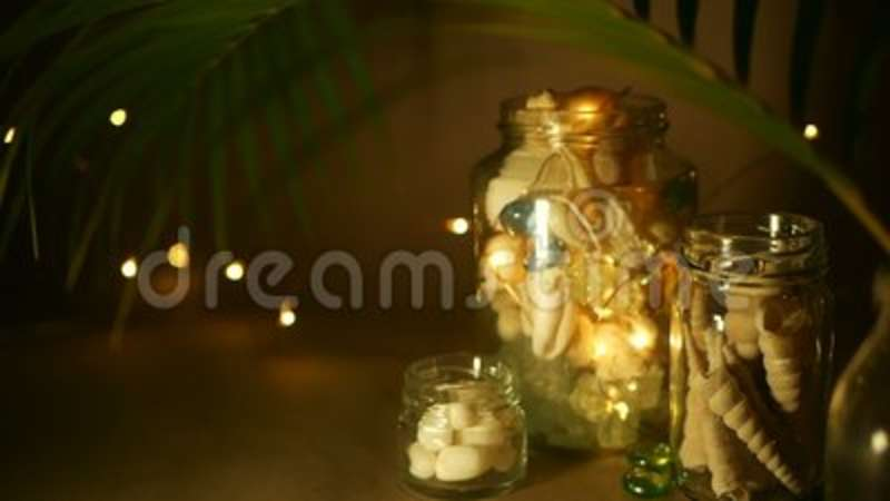 Glass Jar Of Tropical Shells For Home Decor Marine Style Accessories Beach Themed Interior Decorating Backdrop Decorative