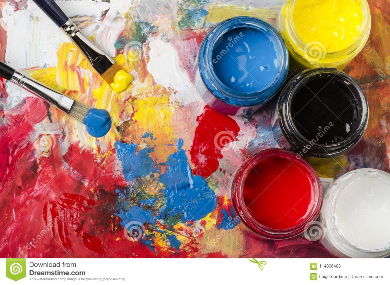 Palette With Acrylic Primary Colors Stock Photo Image Of