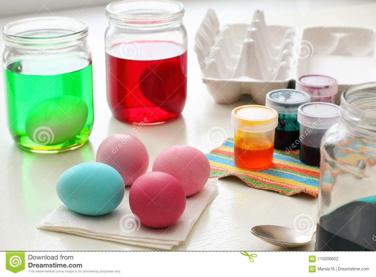 Dyeing Easter Eggs Stock Photo Image Of Holy Painted 110200652