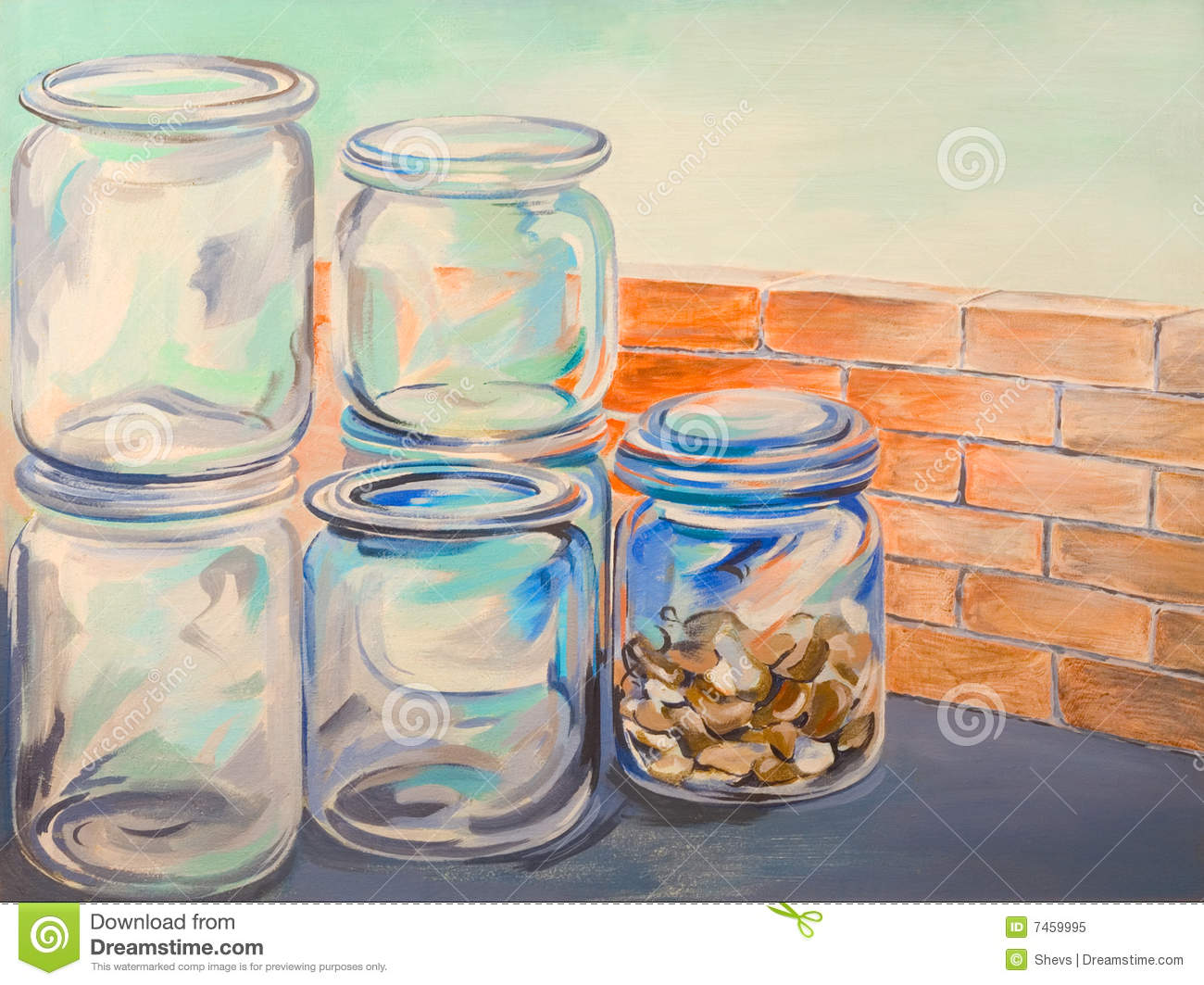 Glass jars oil painting stock illustration image of glass for How to stain glass jars with paint