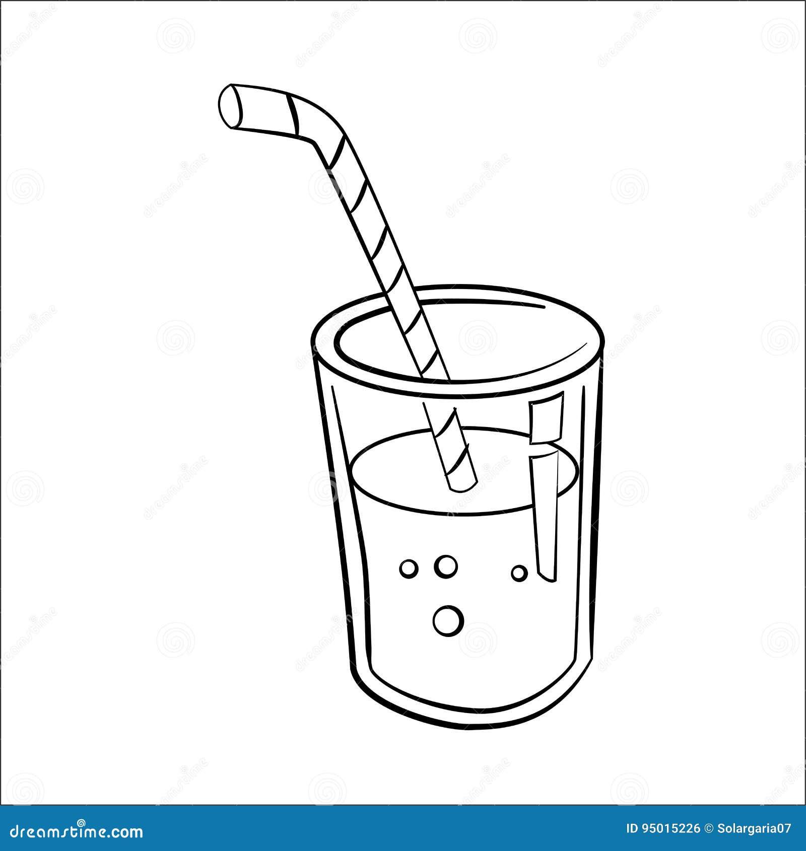 Line Art Juice : Glass of juice cartoon line drawn vector stock