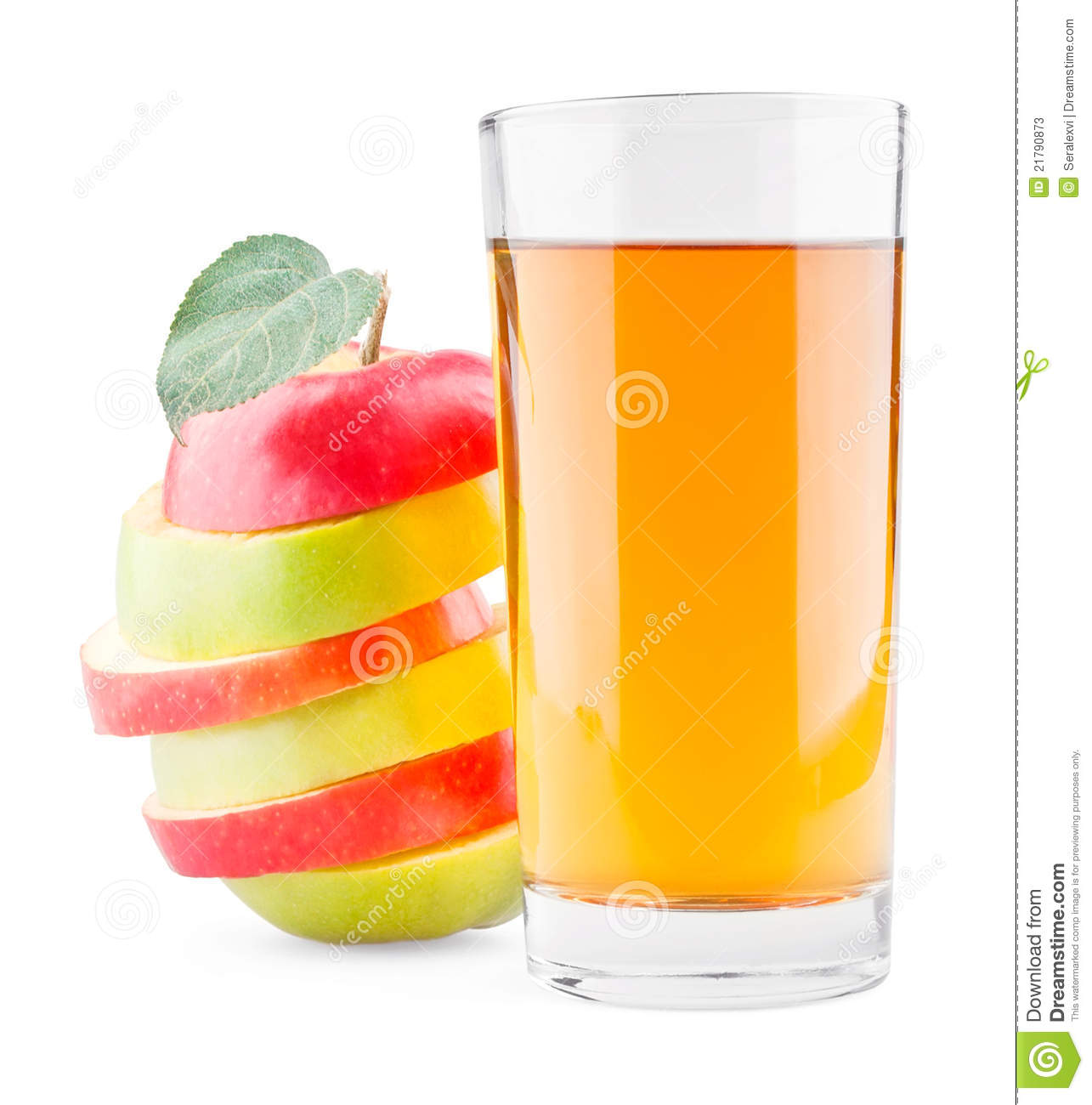 Glass of juice and mixed red green apple stock photos for Green apple mixed drinks