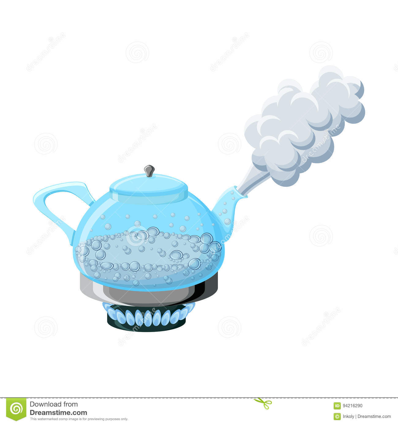 Glass Kettle With Boiling Water And Steam Stock Vector ...