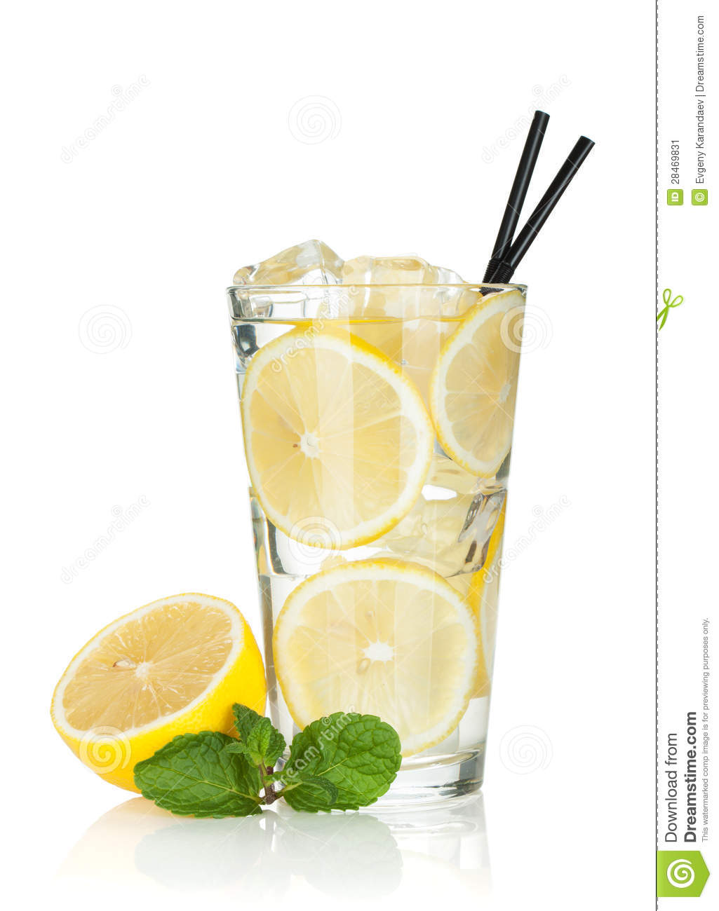 glass of lemonade with lemon and mint stock image image