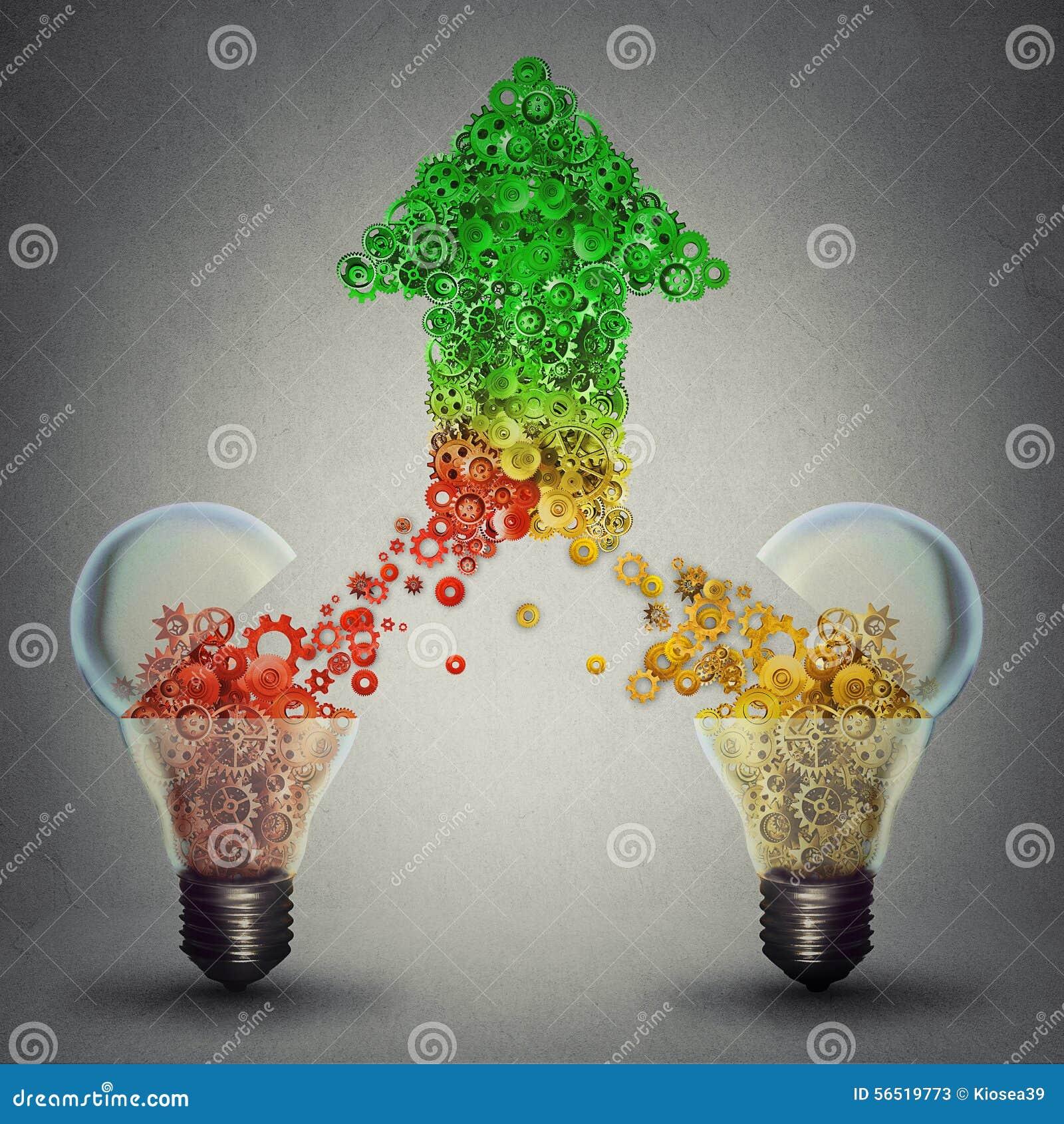 Glass ljusa kulor för framgång som två släpper kugghjul i form av den uppåtriktade pilen