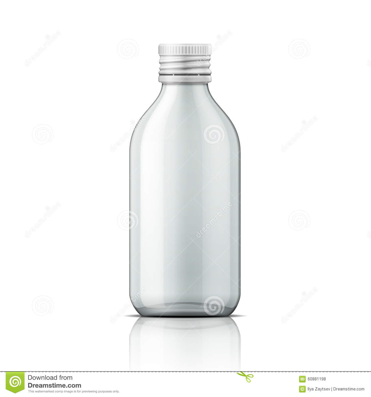 glass medical bottle with cap stock vector illustration of