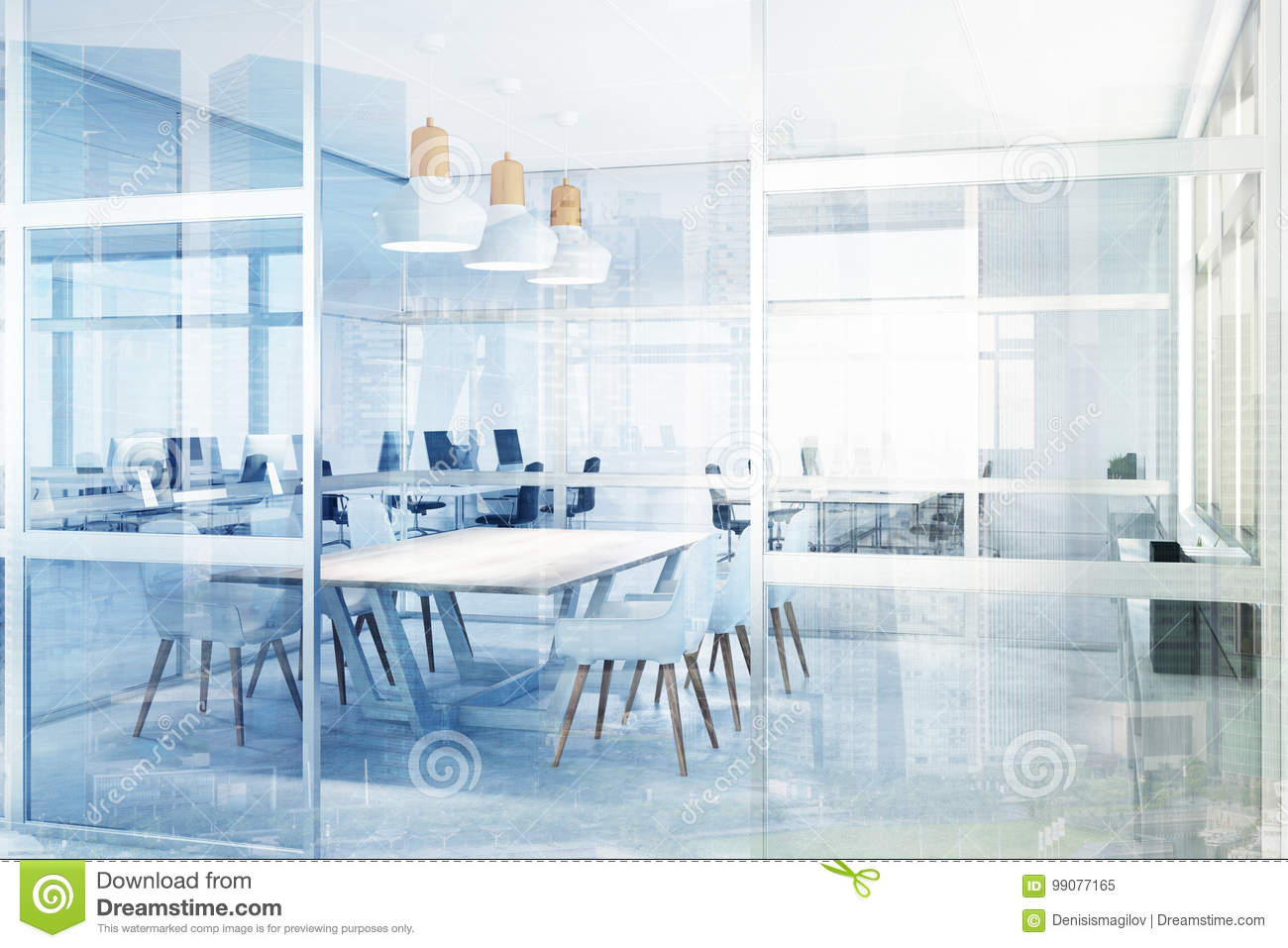 Glass Meeting Room, Corner Toned Stock Illustration - Illustration ...