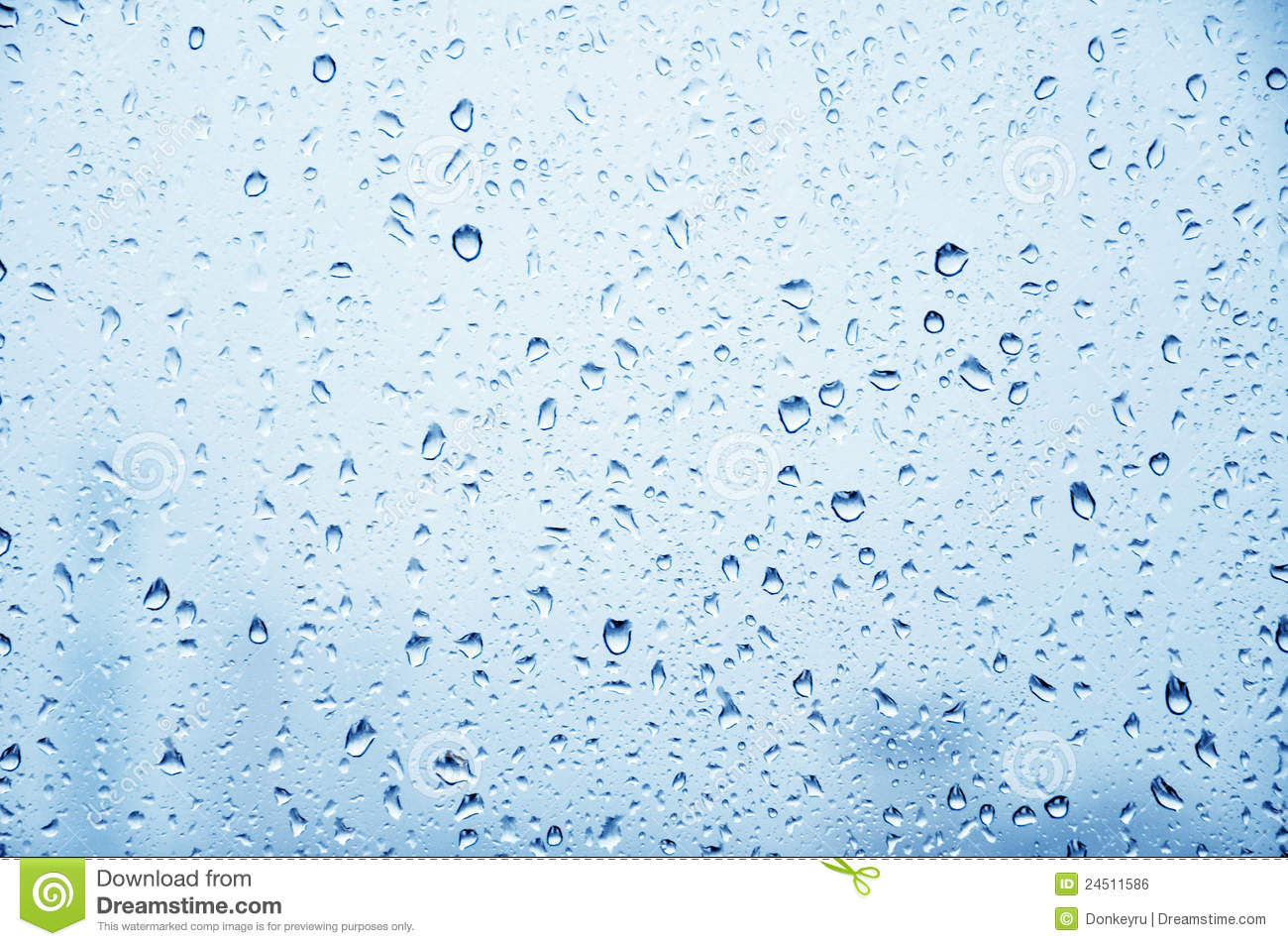 Glass Of Metallic Gray Blue With Raindrops Stock Photo