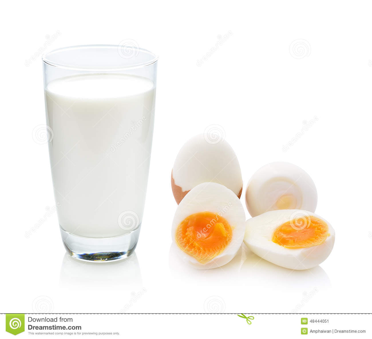 Glass Of Milk And Boiled Egg Stock Photo - Image: 48444051