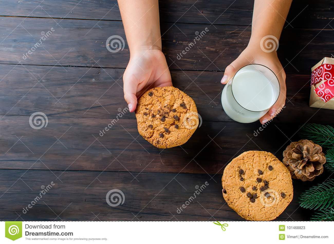 Glass Of Milk And Cookies With Chocolate For Santa Stock Image