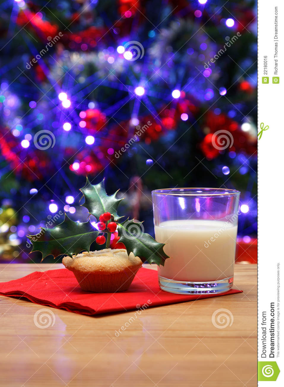 Glass Of Milk And A Mince Pie For Santa Stock Photo