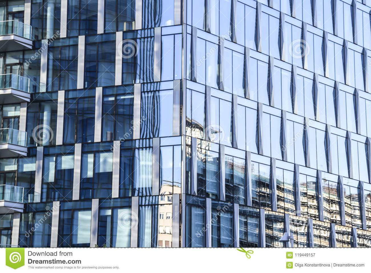 Glass mirror blue house office building abstraction background t