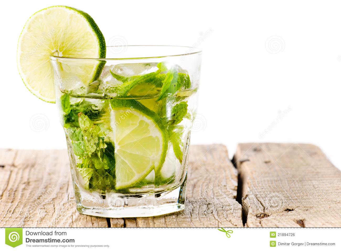 glass mojito lime wood stock photo image of mint leaf. Black Bedroom Furniture Sets. Home Design Ideas