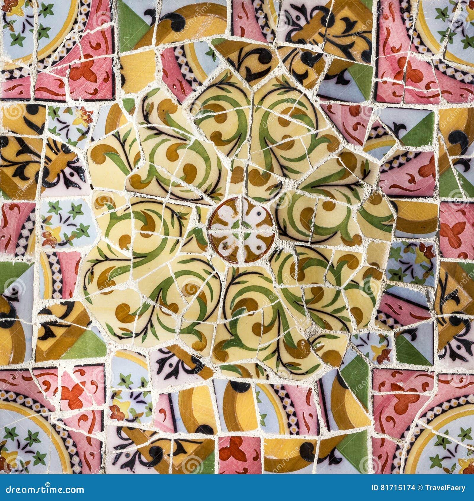 Glass mosaic ceramic tile decoration in park guell barcelona glass mosaic ceramic tile decoration in park guell barcelona royalty free stock photo download glass mosaic ceramic tile dailygadgetfo Images