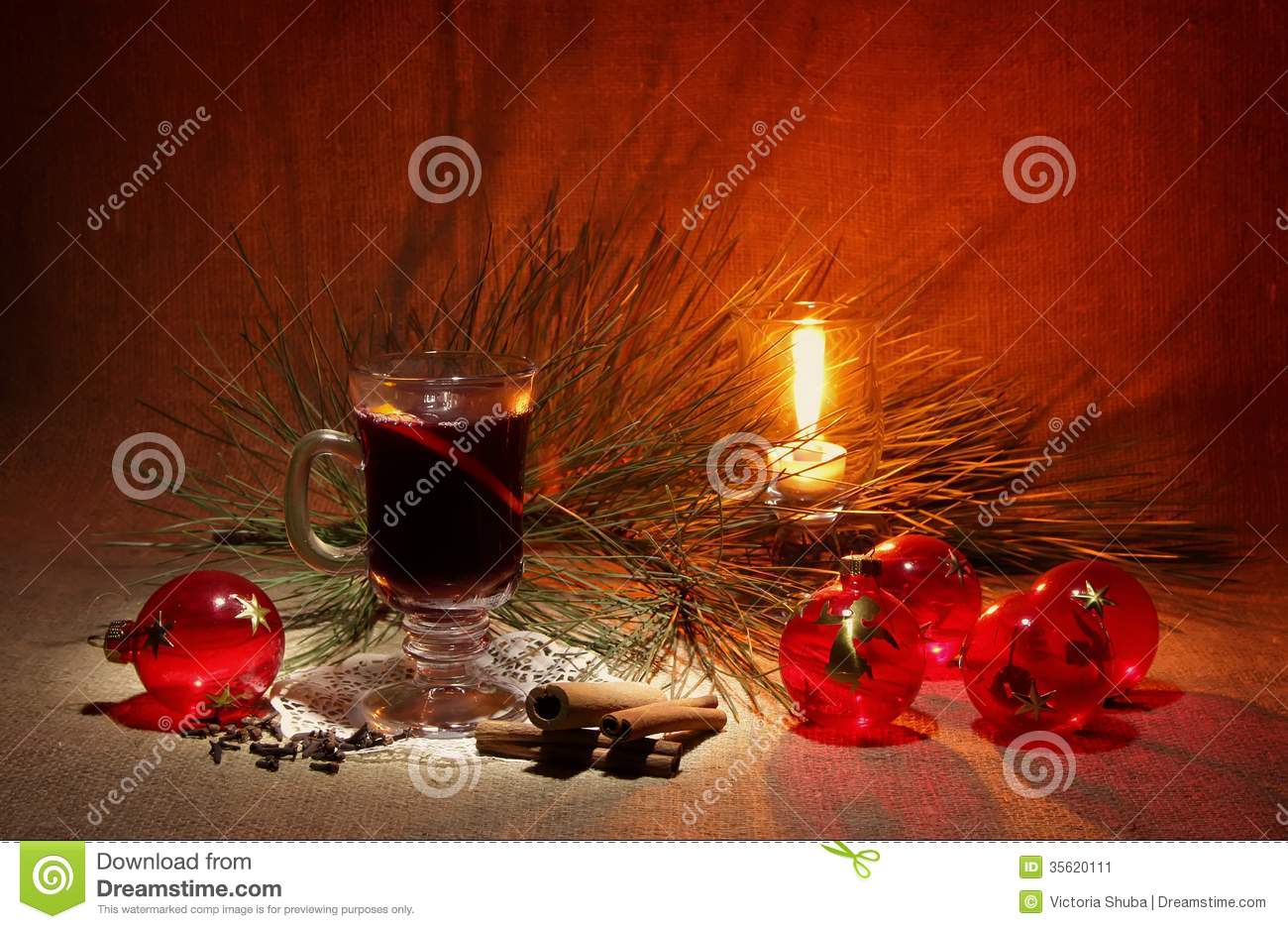 Glass Of Mulled Wine, Candle And Christmas Balls Stock Image - Image ...