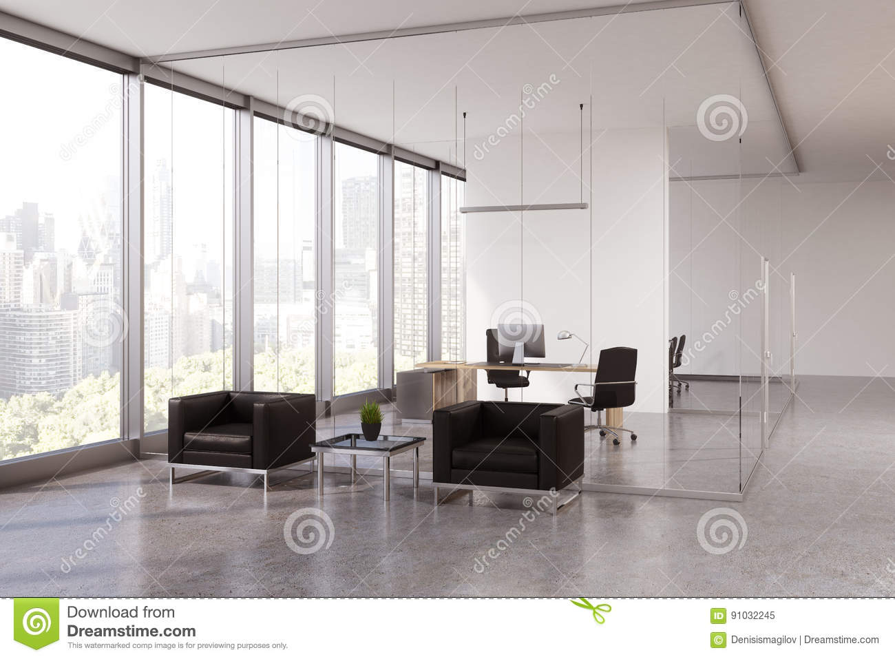 Glass Office Waiting Area, CEO Room Stock Illustration ...