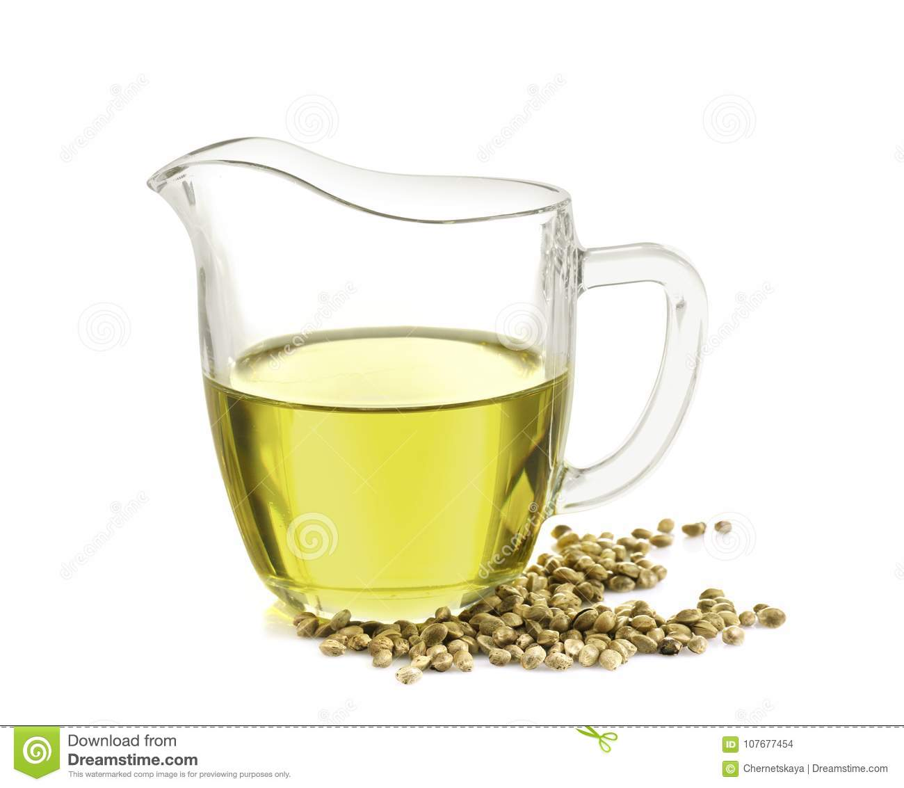 Glass pitcher with hemp oil isolated