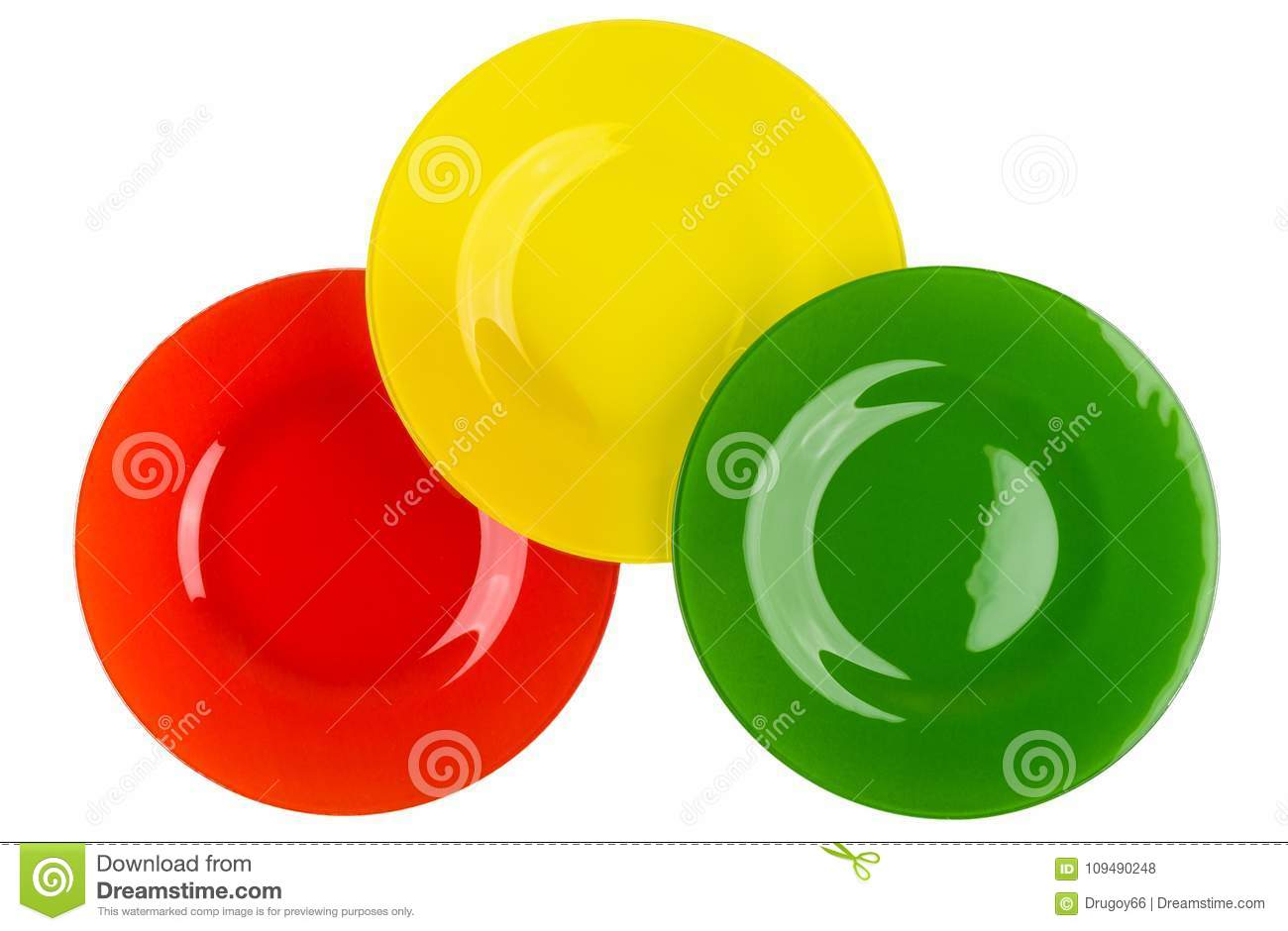Glass Plates Red, Yellow And Green Colors Isolated On White Stock ...