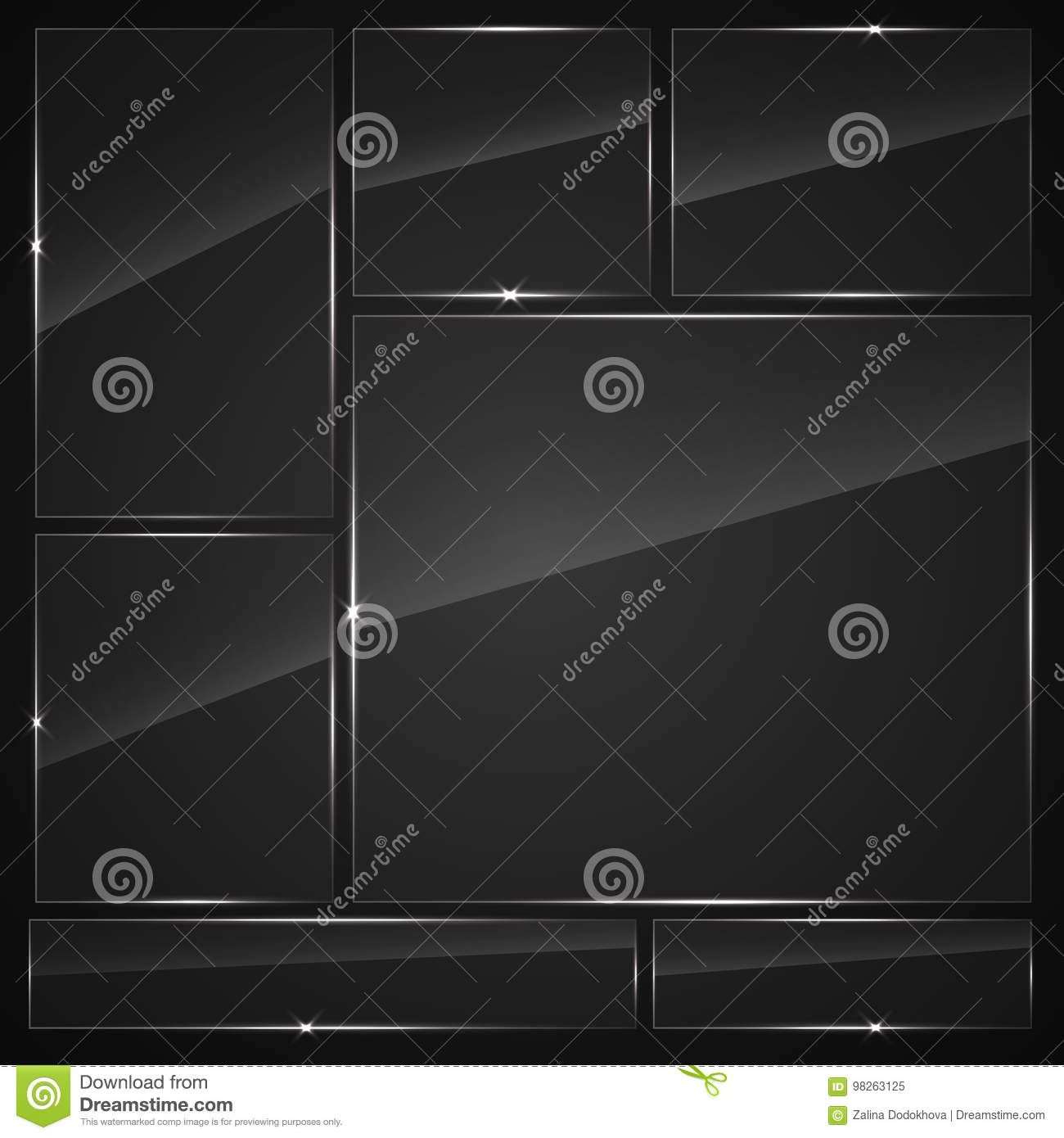 Glass plates set. Vector glass banners