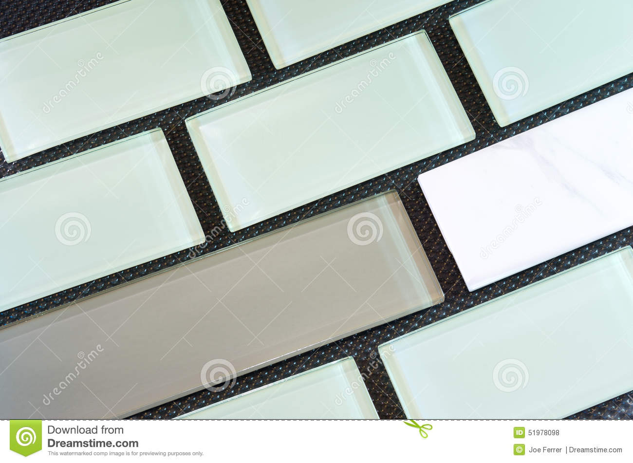 Glass And Porcelain Backsplash Tile Rows Stock Photo