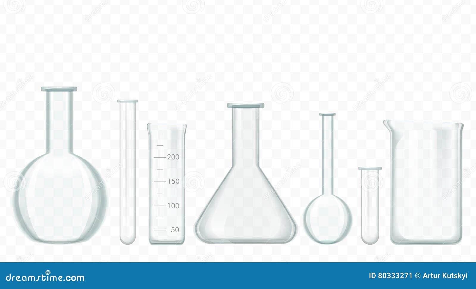 Glass provrör för vektor som isoleras på vit Laboratoriumdryckeskärlar som fylls med kulöra vätskevikter