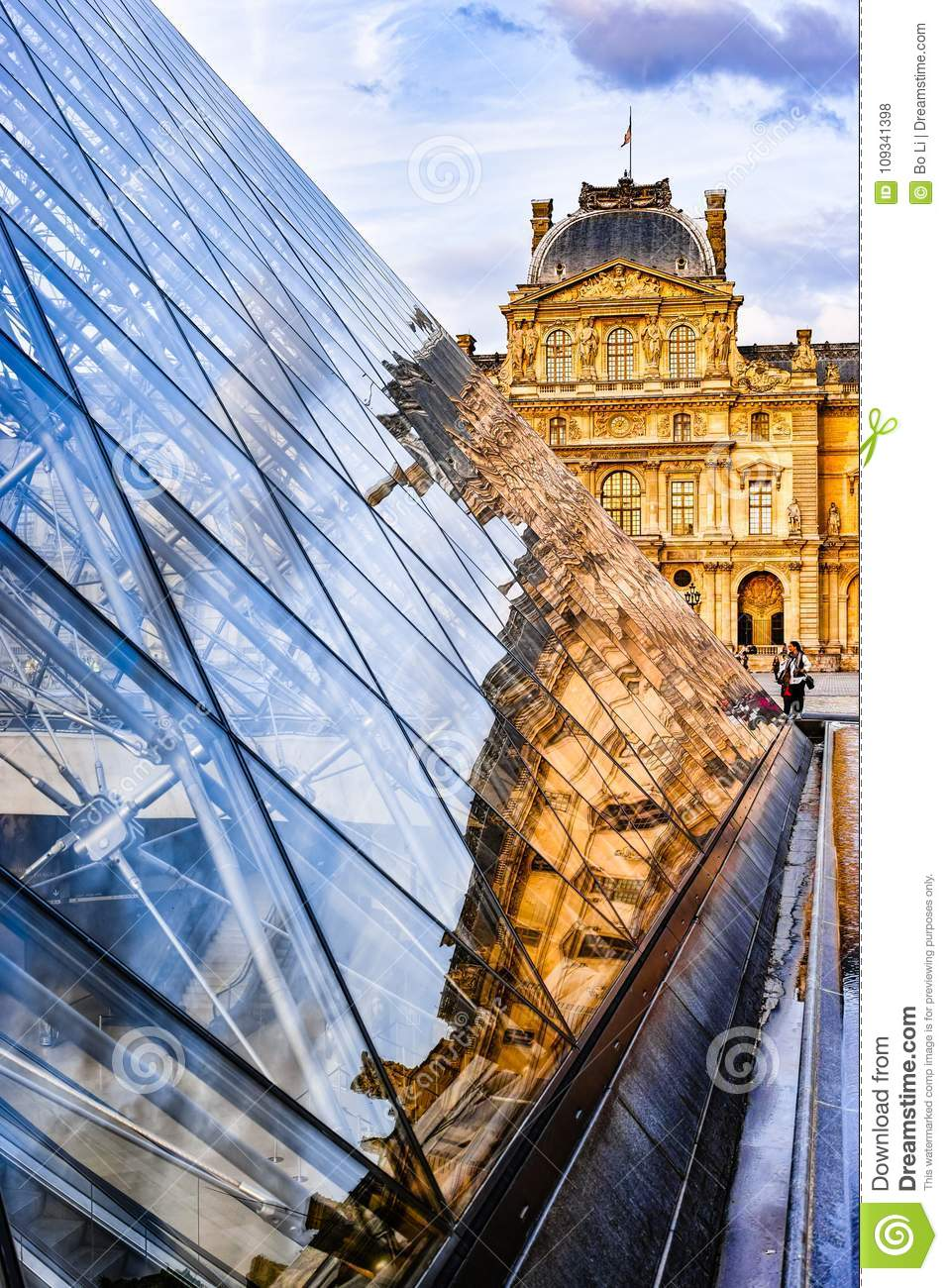 Glass Pyramid and Louvre Museum