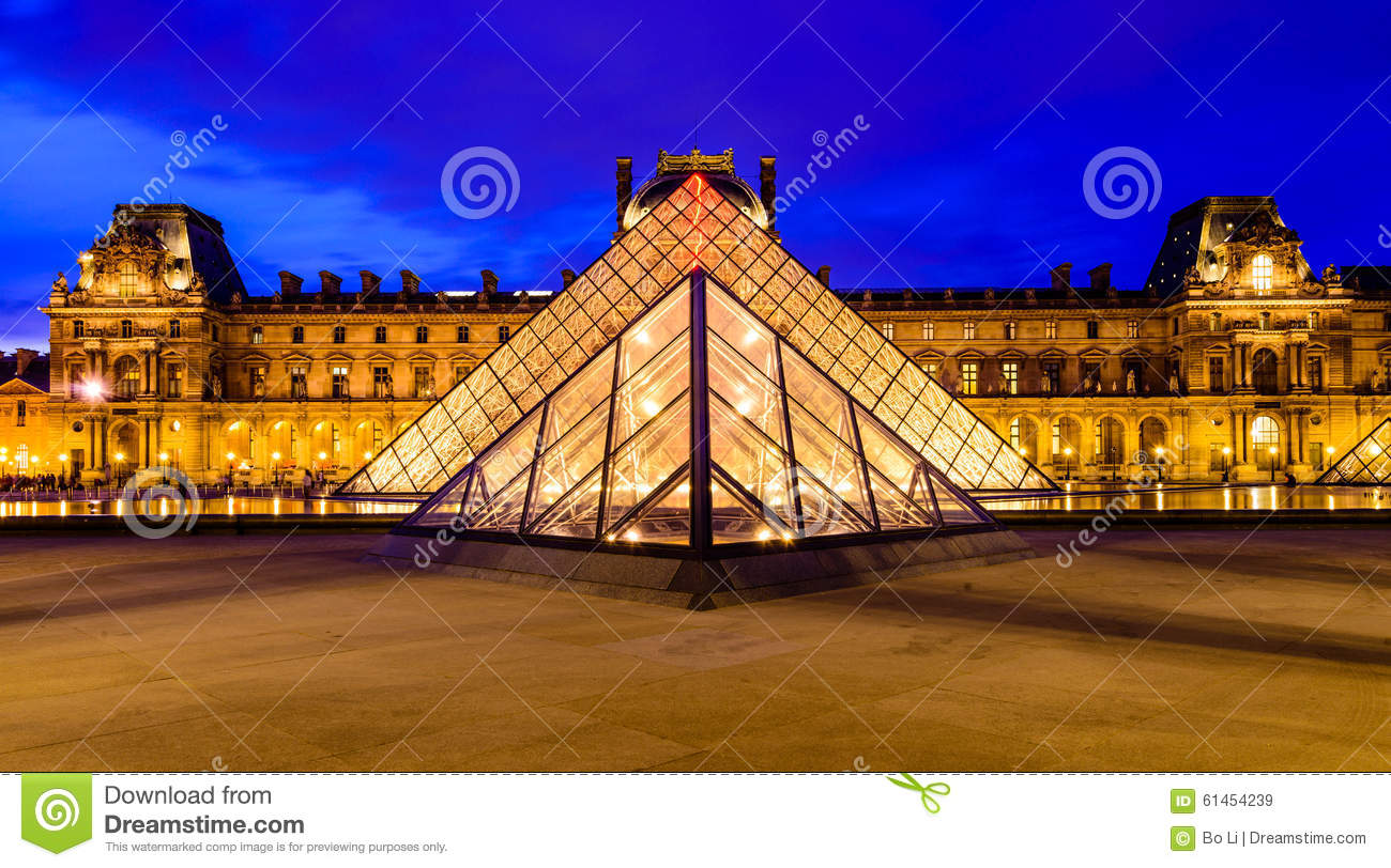 glass pyramid of louvre museum editorial stock image